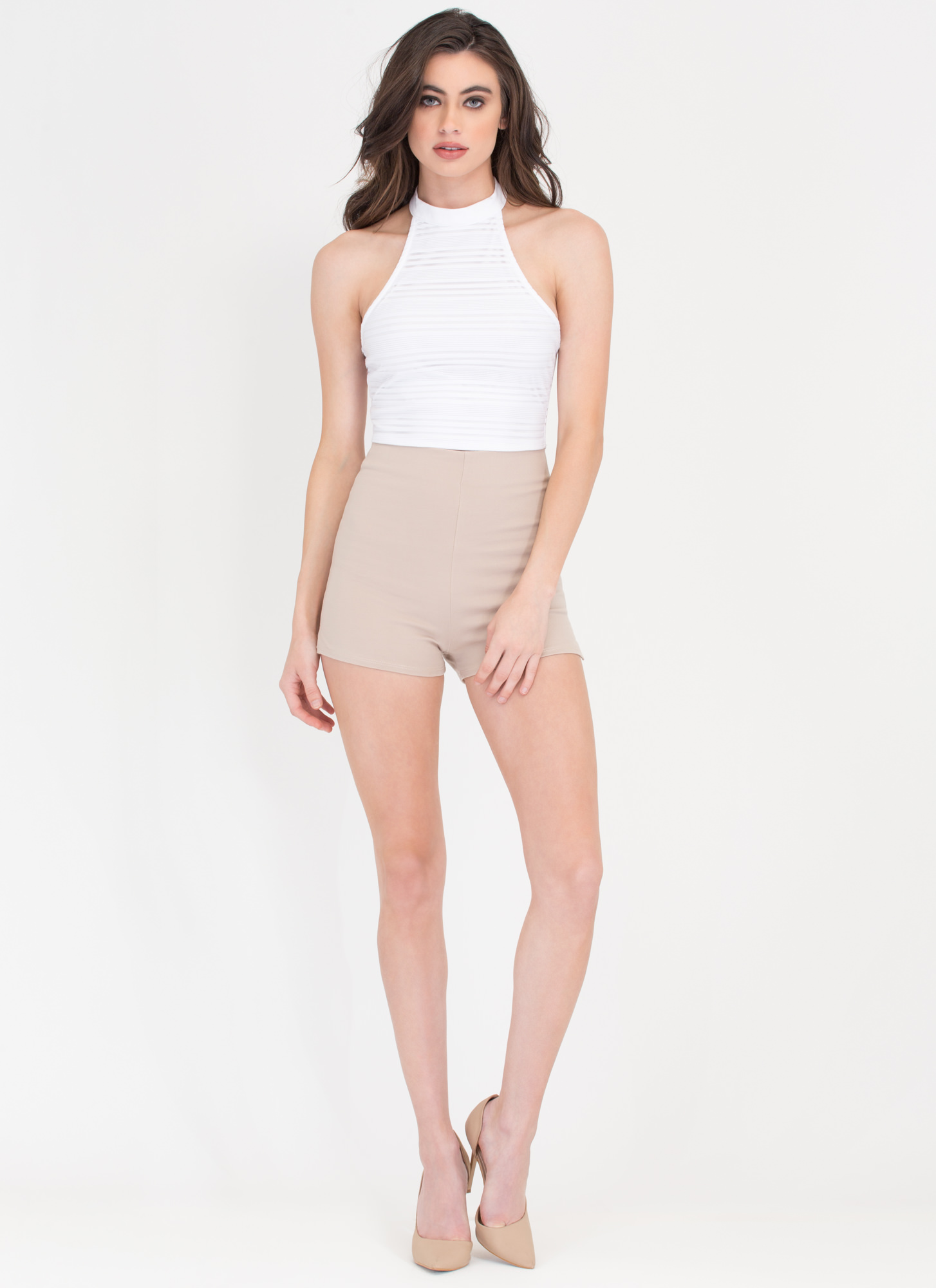 Fine Line Sheer Strappy Crop Tank WHITE