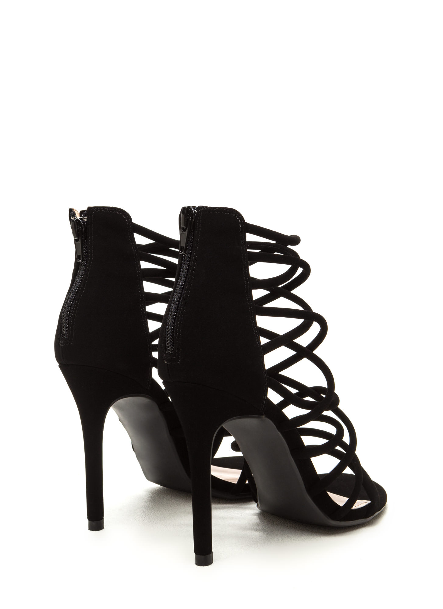 Midnight Hour Caged Stiletto Heels BLACK