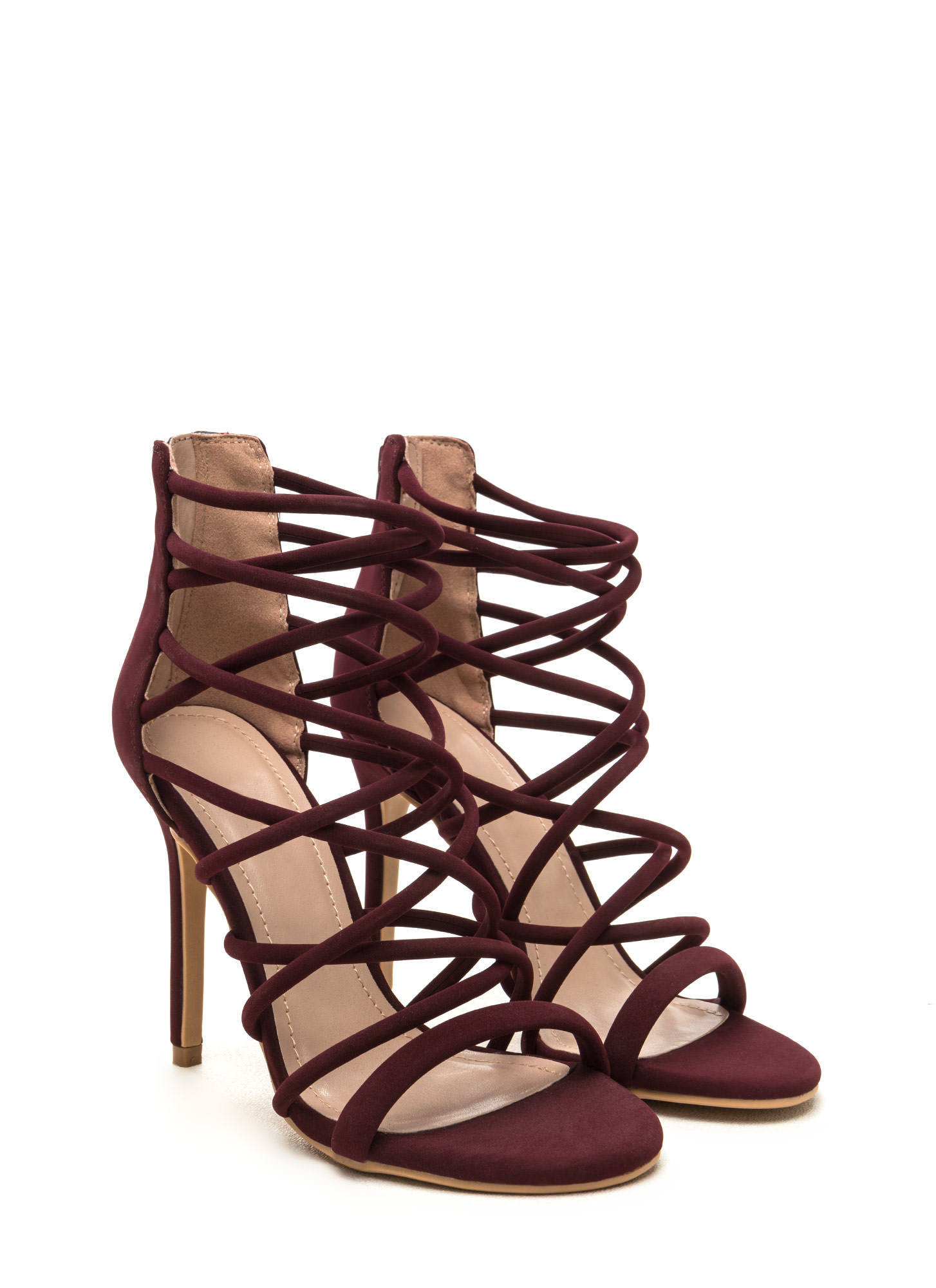 Midnight Hour Caged Stiletto Heels WINE