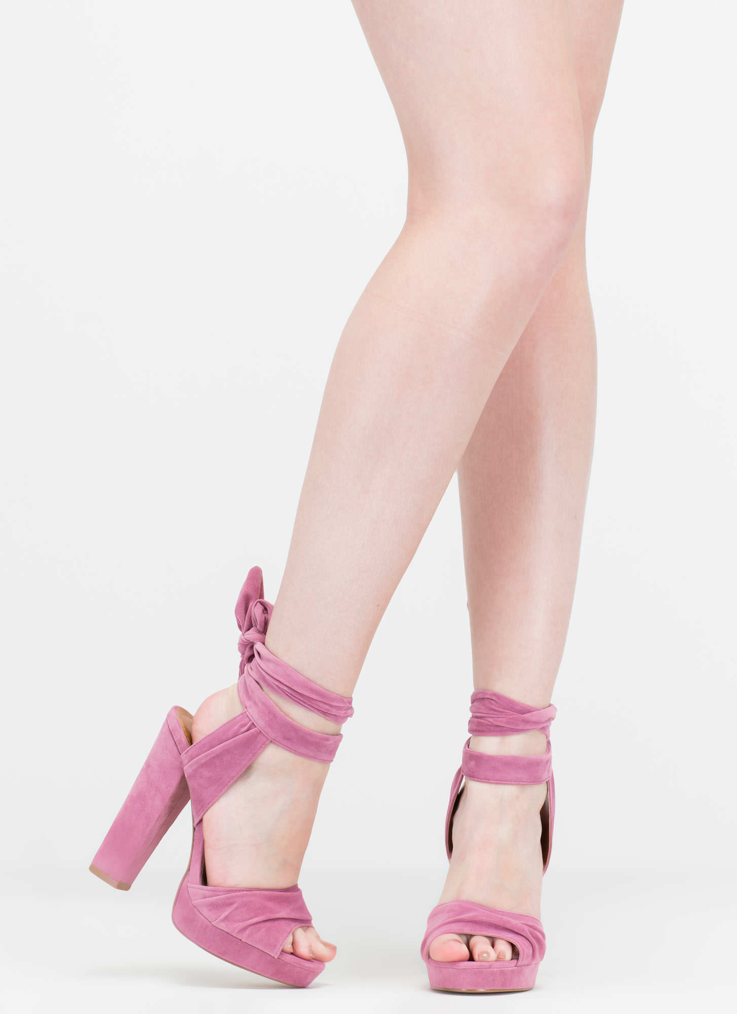 Strapped In Tied Chunky Peep-Toe Heels MAUVE