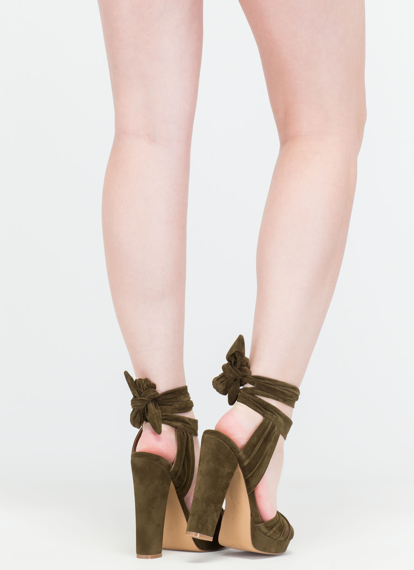Strapped In Tied Chunky Peep-Toe Heels OLIVE