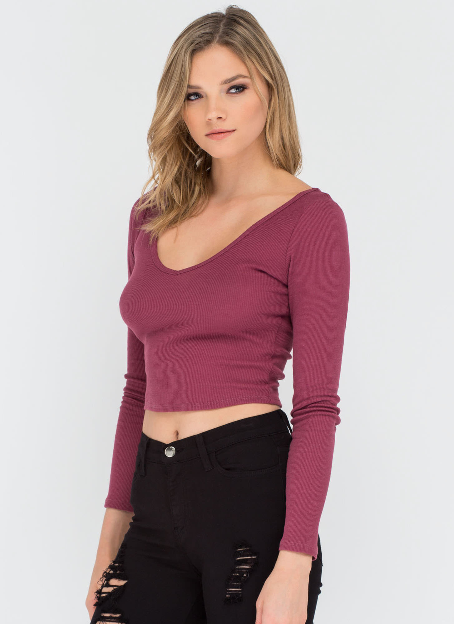 Stay Warm Ribbed Deep-V Crop Top DKMAUVE