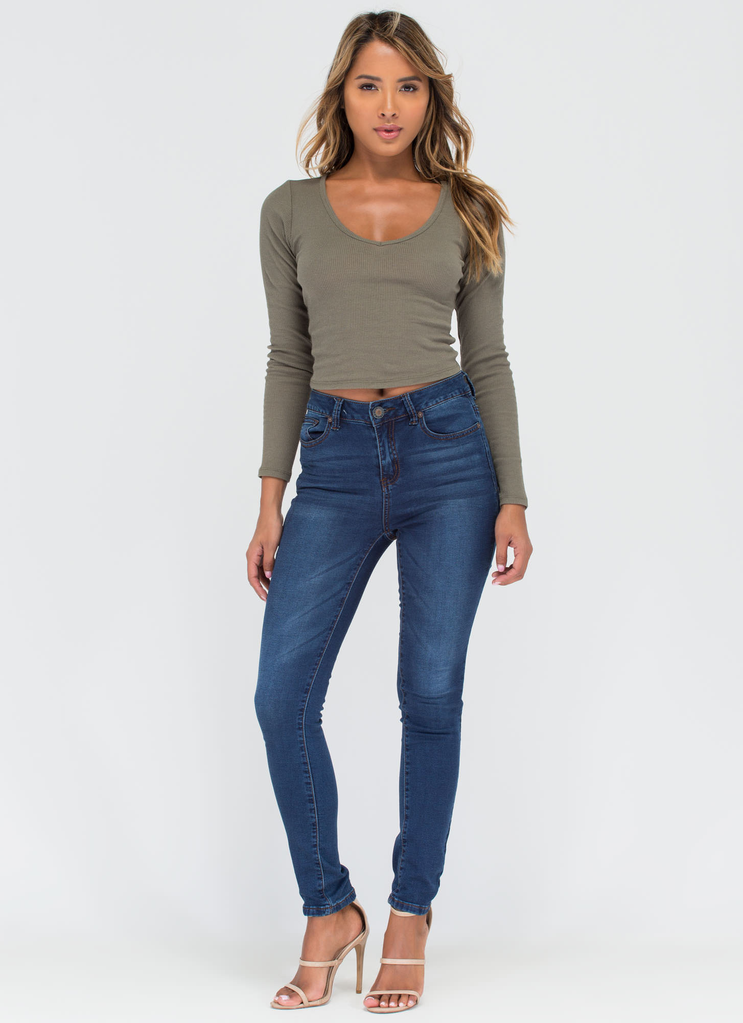 Stay Warm Ribbed Deep-V Crop Top OLIVE