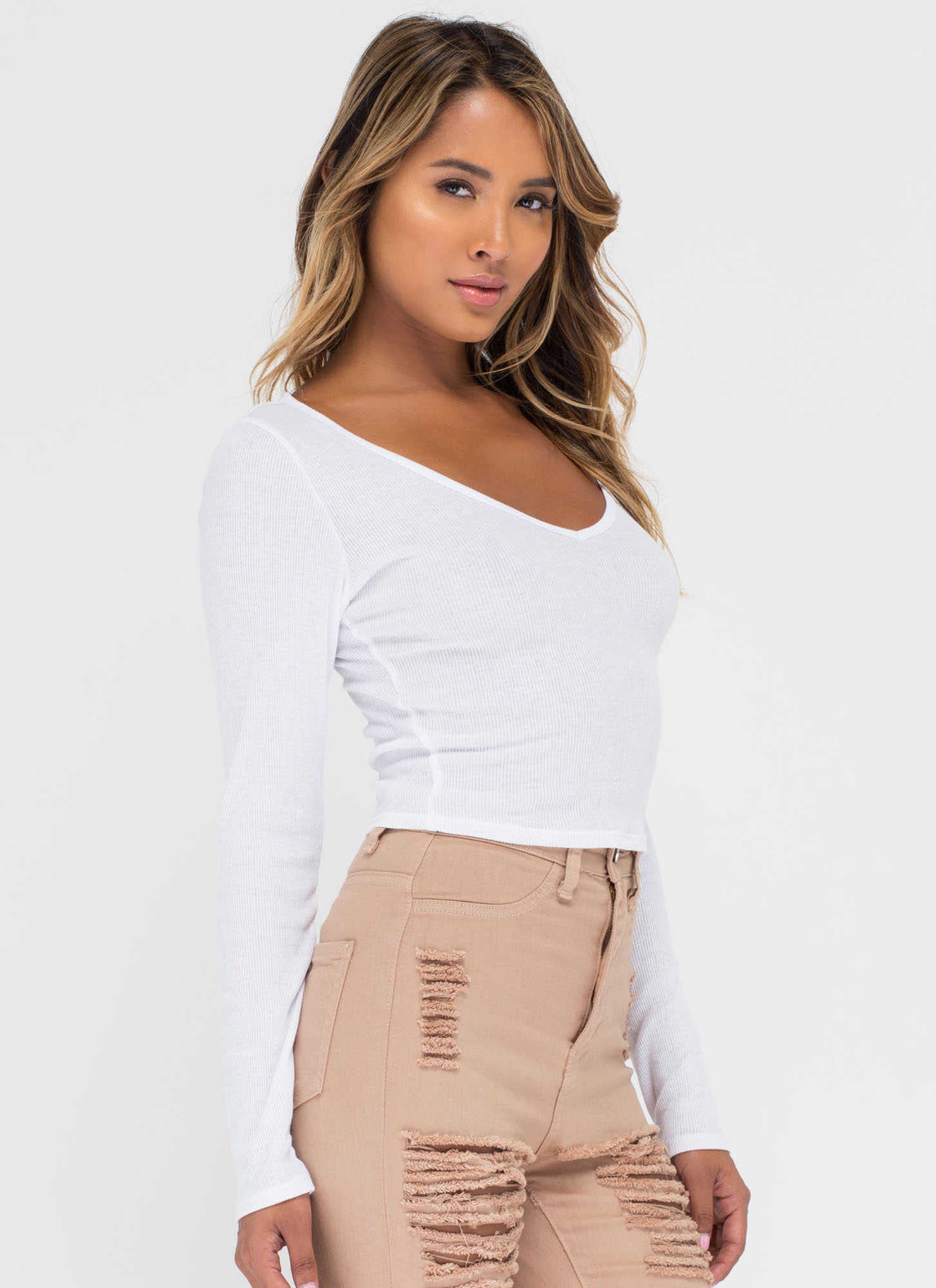 Stay Warm Ribbed Deep-V Crop Top WHITE