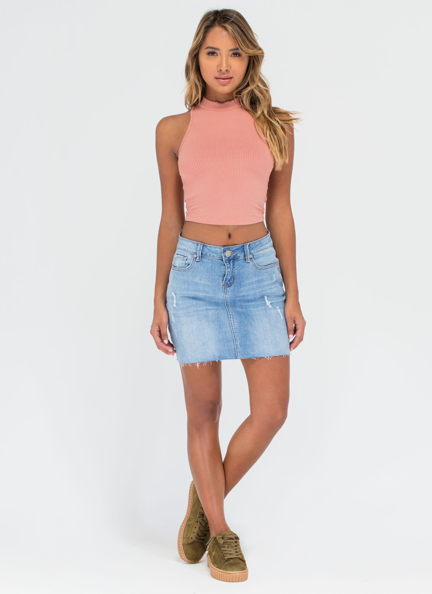 Easy Going Cropped Rib Knit Top APRICOT