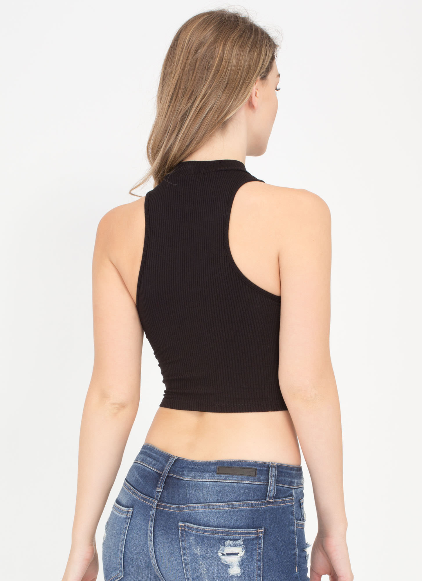 Easy Going Cropped Rib Knit Top BLACK
