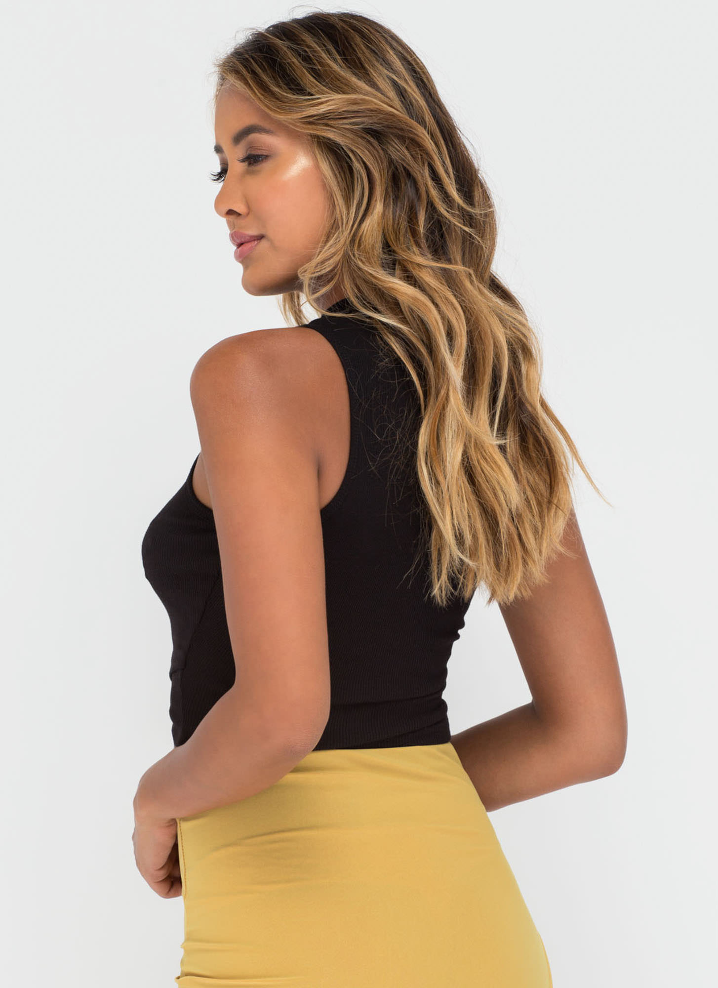 Cool Crossover Ribbed Crop Top BLACK