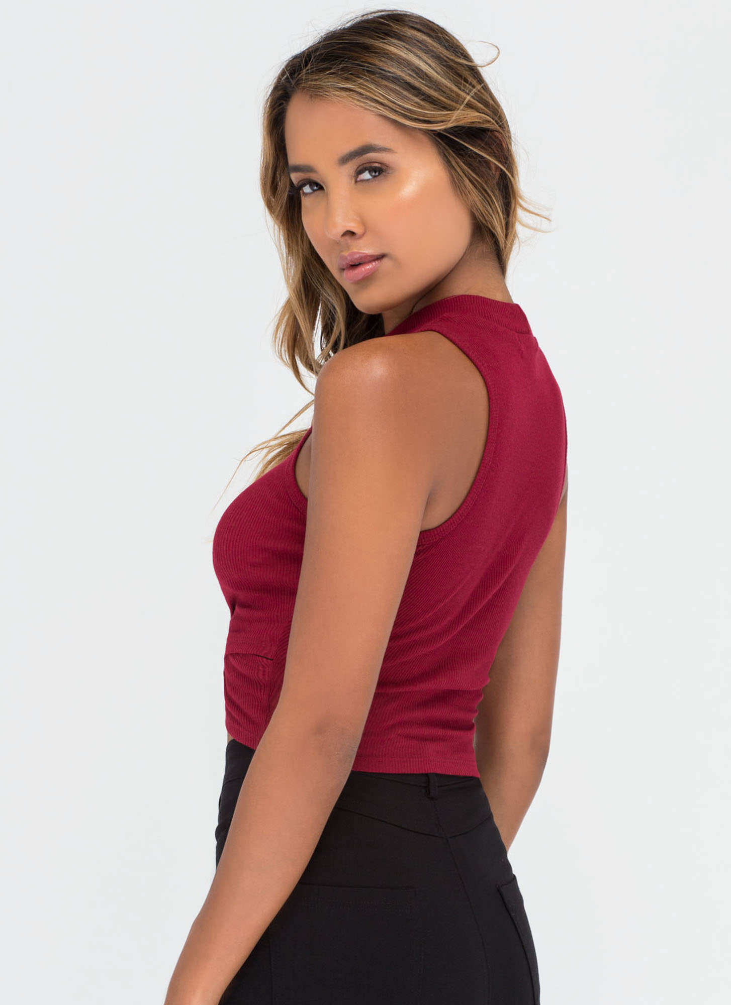 Cool Crossover Ribbed Crop Top BURGUNDY