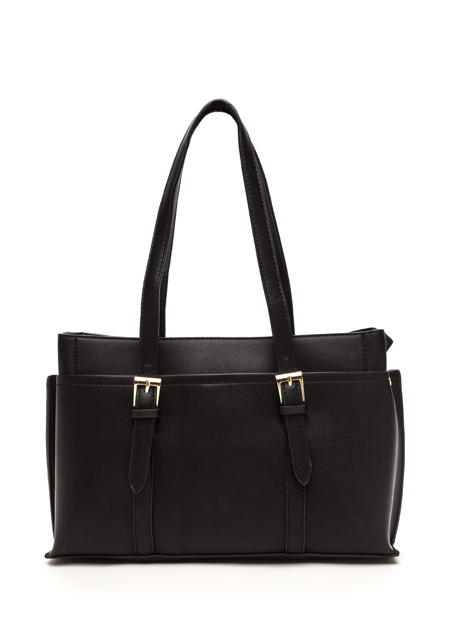 New Classic Faux Leather Tote BLACK