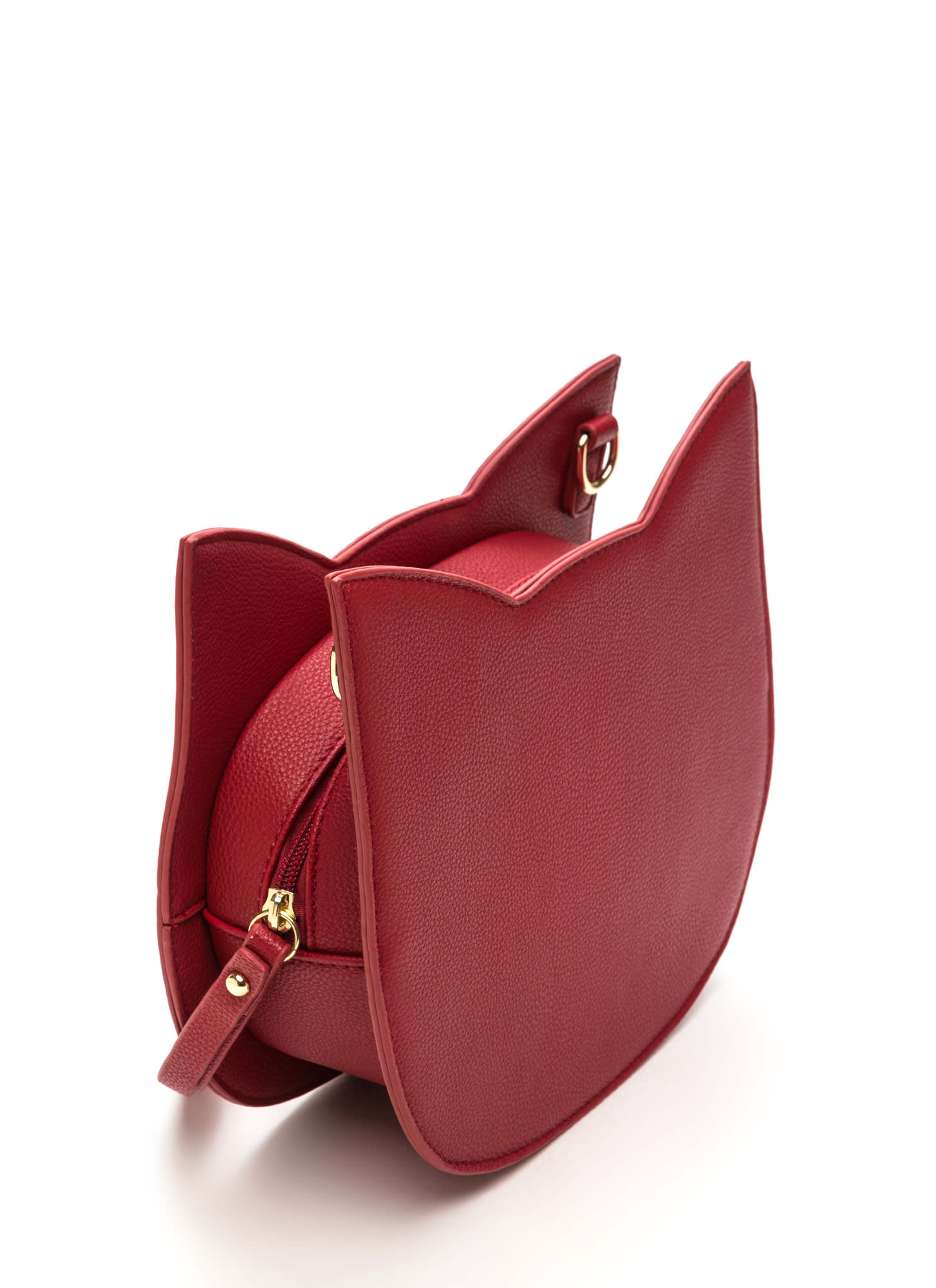 Cute Cat Lady Faux Leather Purse RED