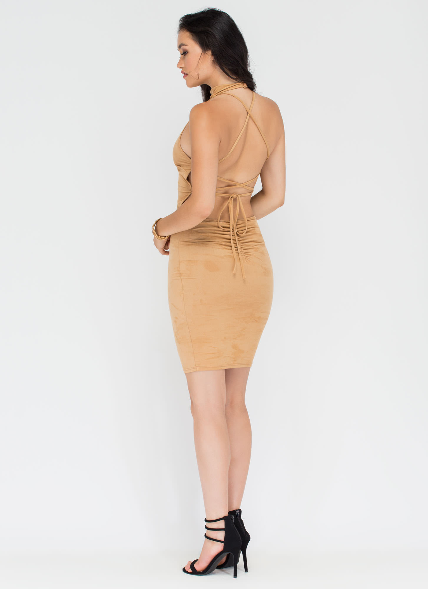 Per-suede You Cut-Out Lace-Up Dress CAMEL