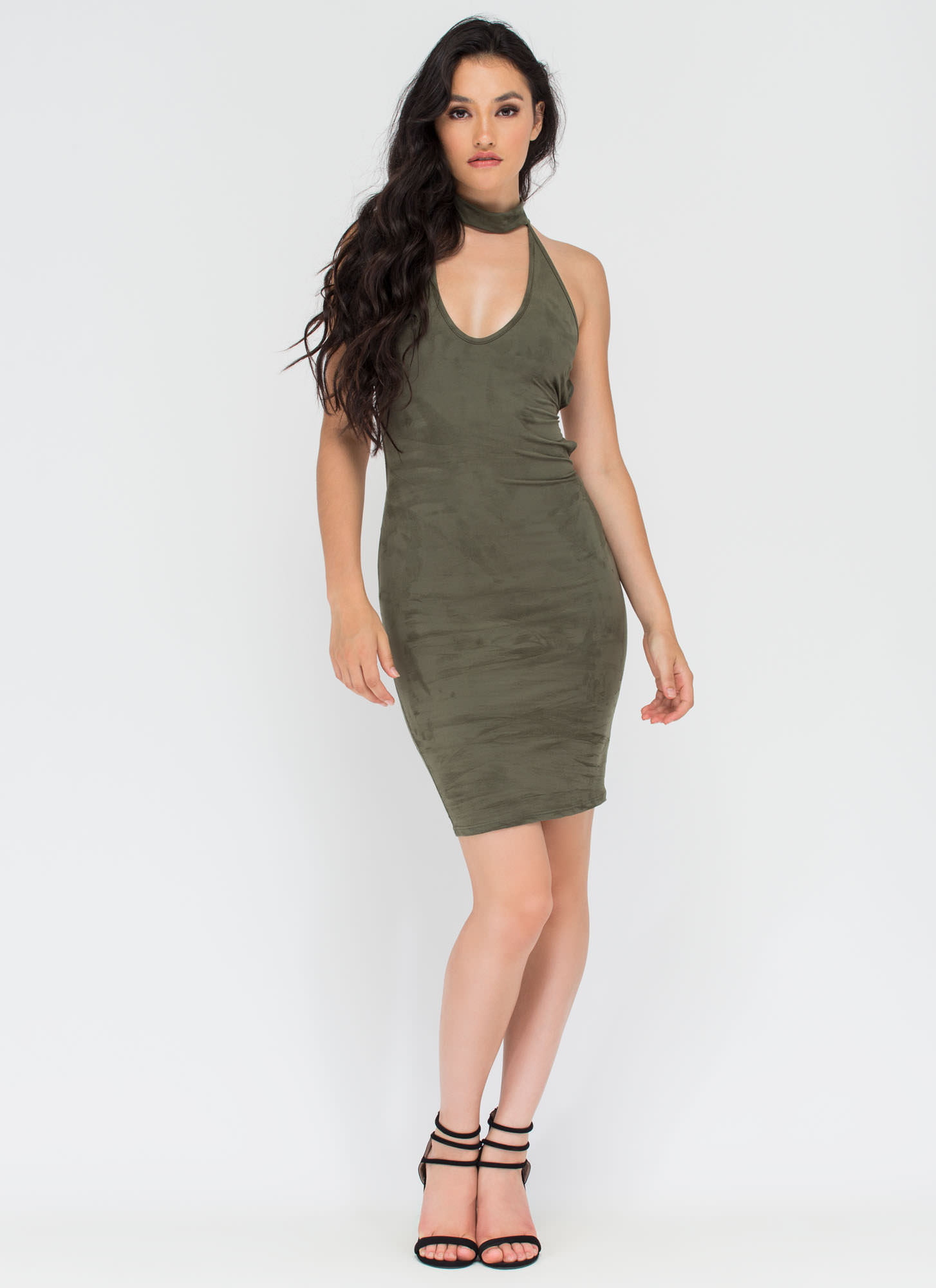 Per-suede You Cut-Out Lace-Up Dress OLIVE