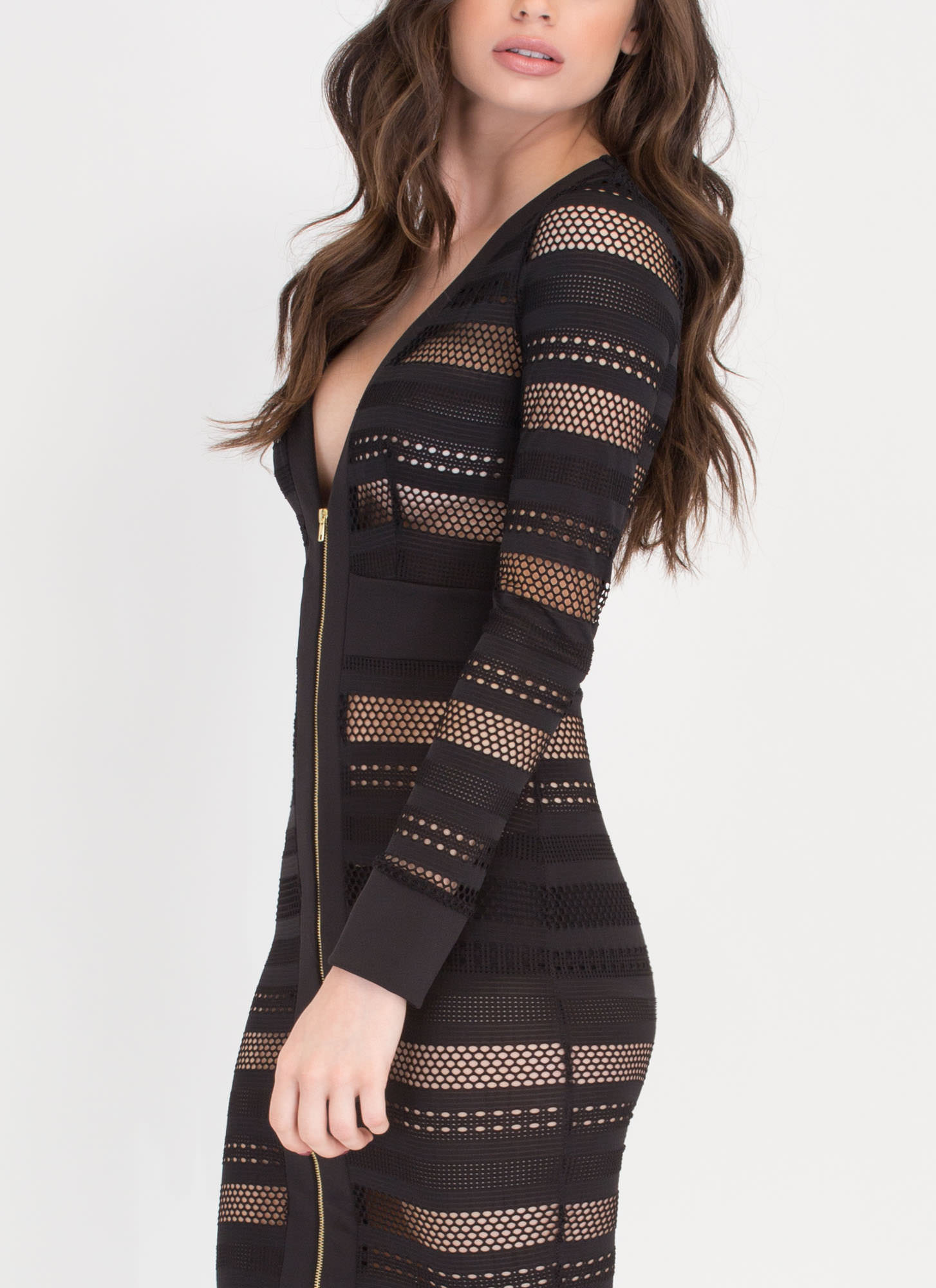 Sheer 'N Bold Perforated Bodycon Dress BLACK