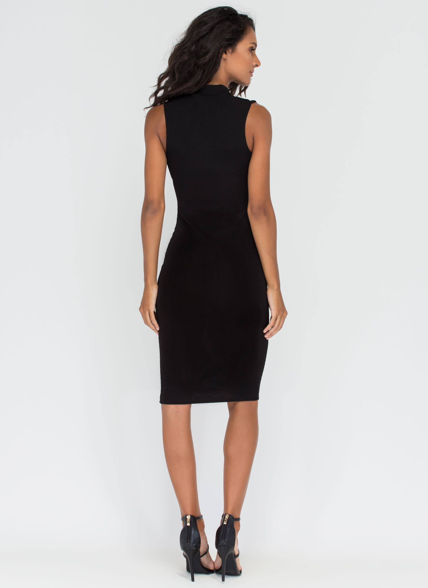 Stop Traffic Rib Knit Cut-Out Midi Dress BLACK
