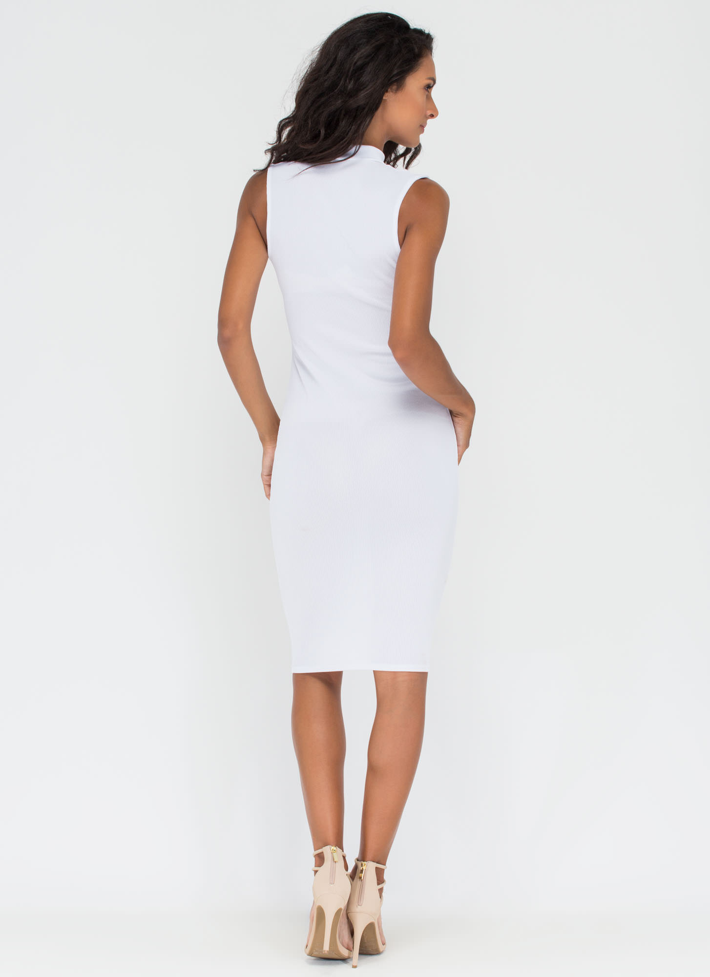 Stop Traffic Rib Knit Cut-Out Midi Dress WHITE
