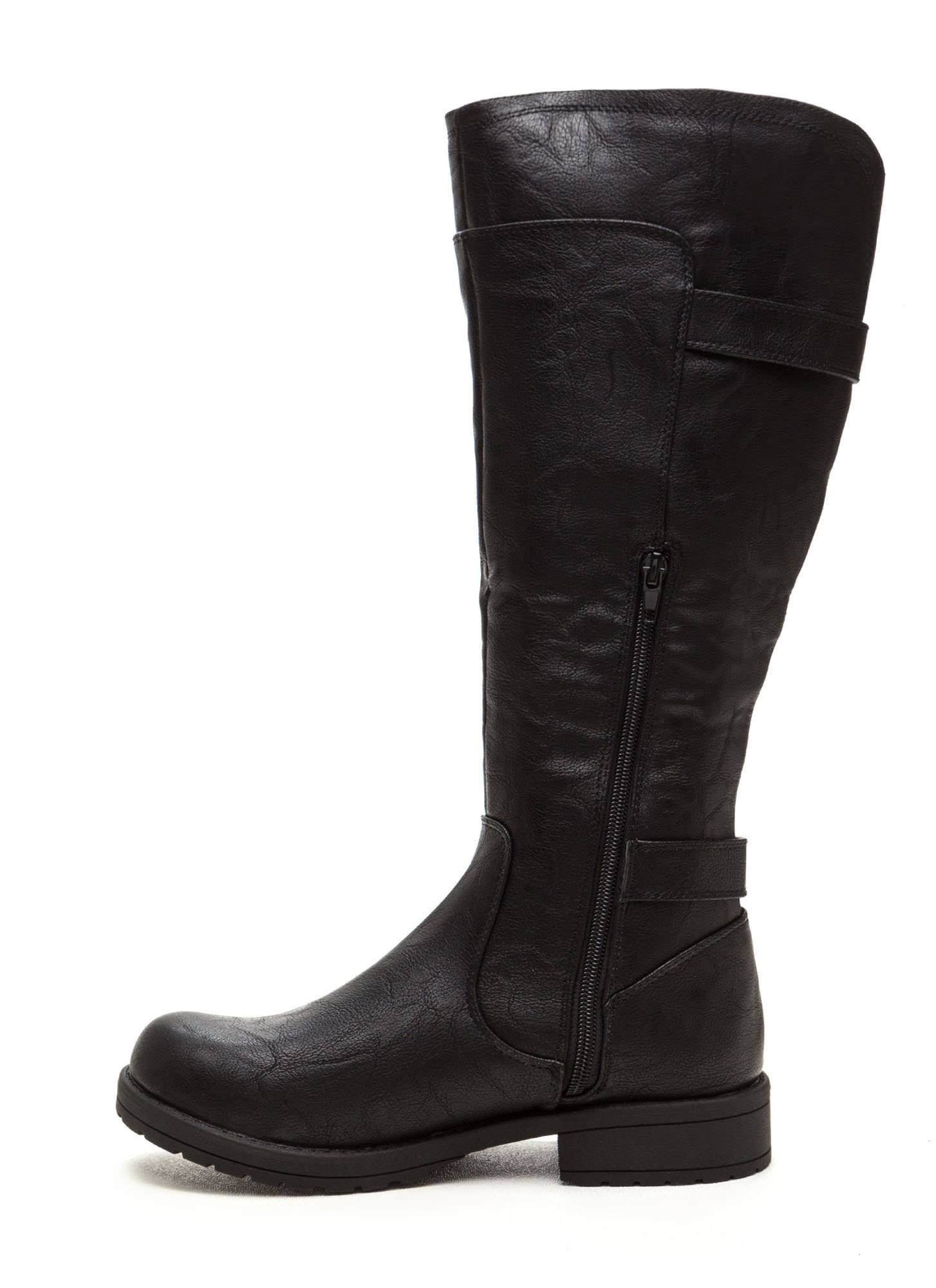 Not Two Much Buckled Riding Boots BLACK
