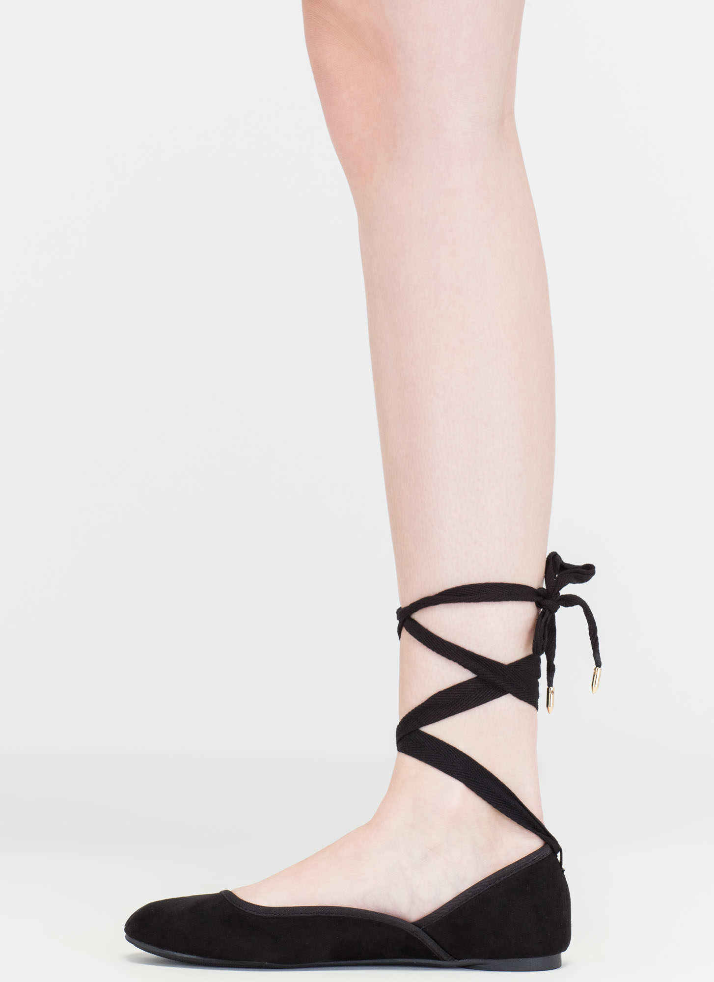 Tie You Over Faux Suede Lace-Up Flats BLACK