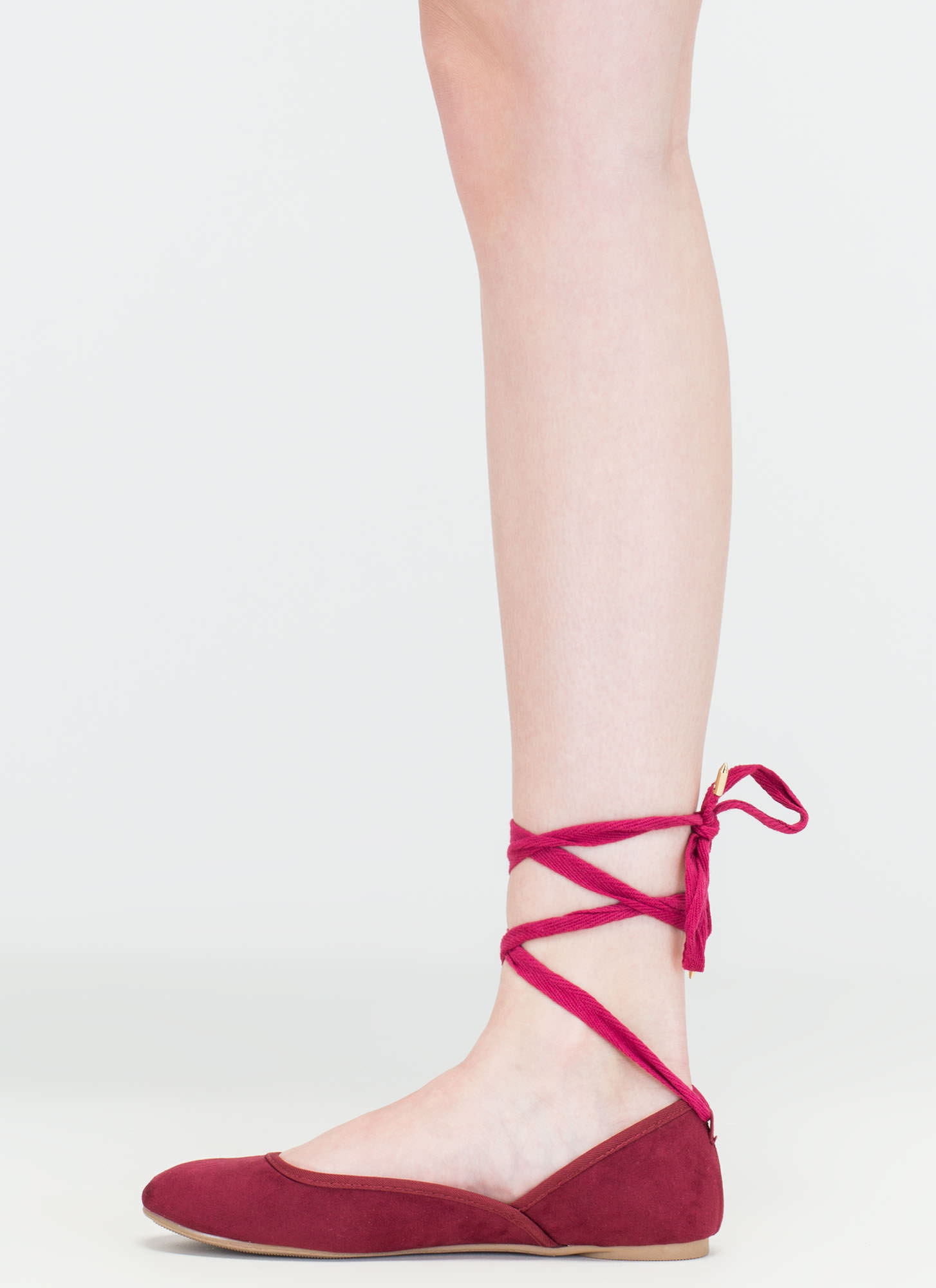 Tie You Over Faux Suede Lace-Up Flats BURGUNDY