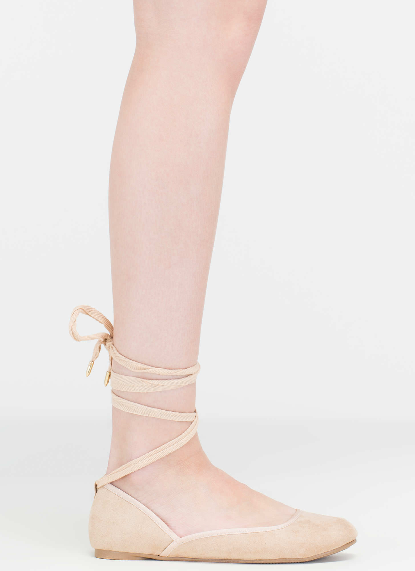 Tie You Over Faux Suede Lace-Up Flats NATURAL