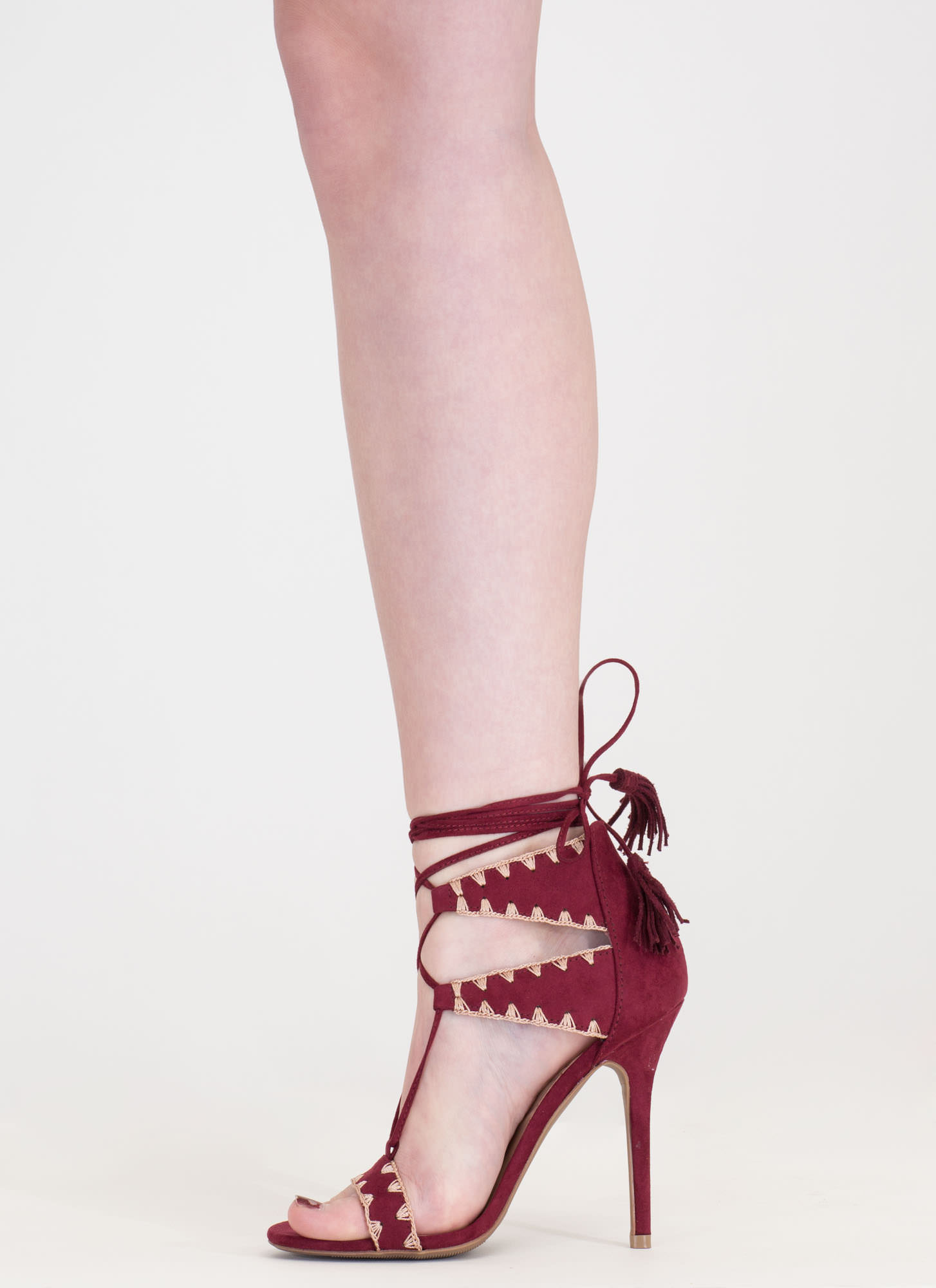 Embroider Away Tasseled Lace-Up Heels BURGUNDY