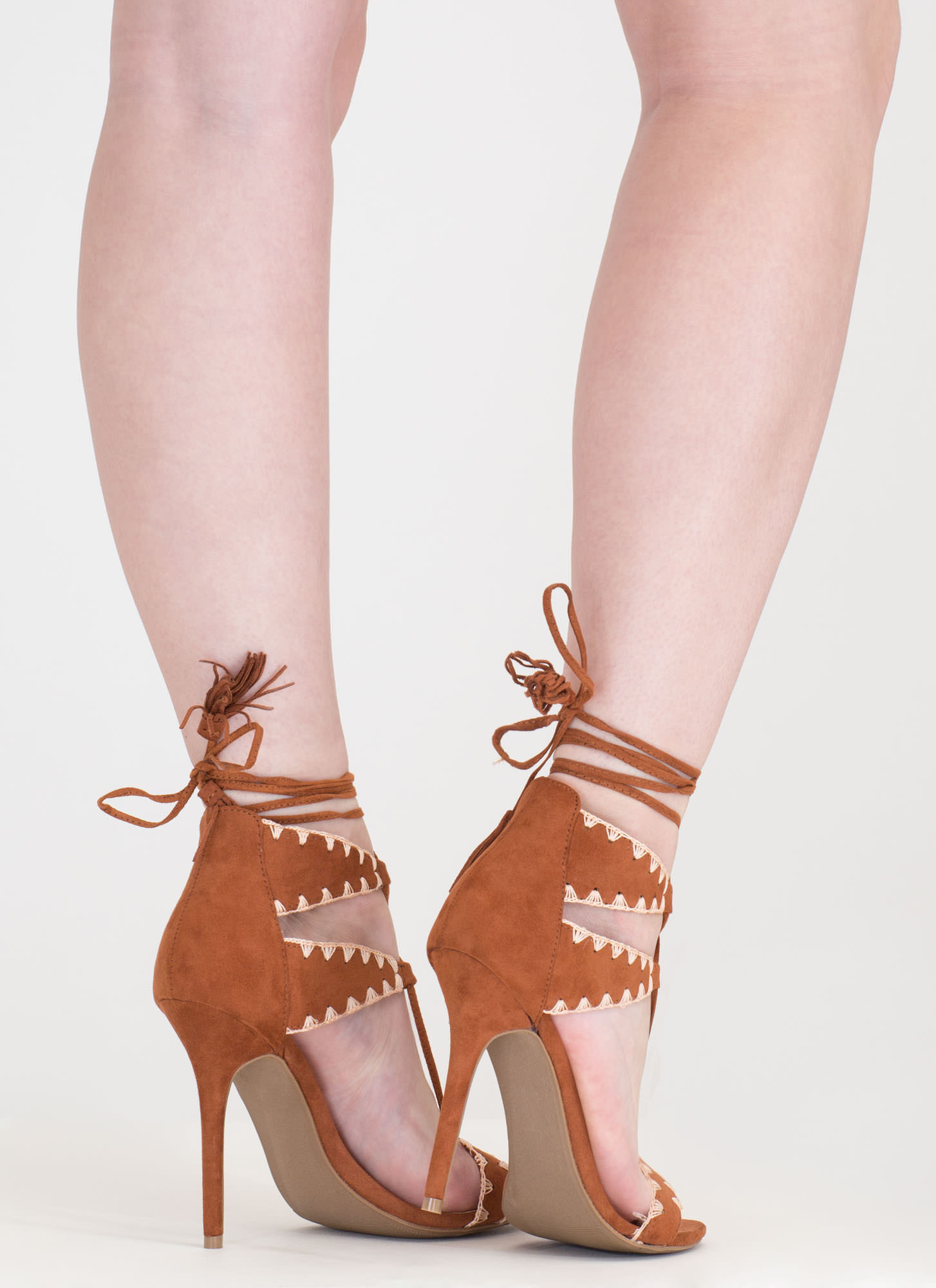Embroider Away Tasseled Lace-Up Heels COGNAC