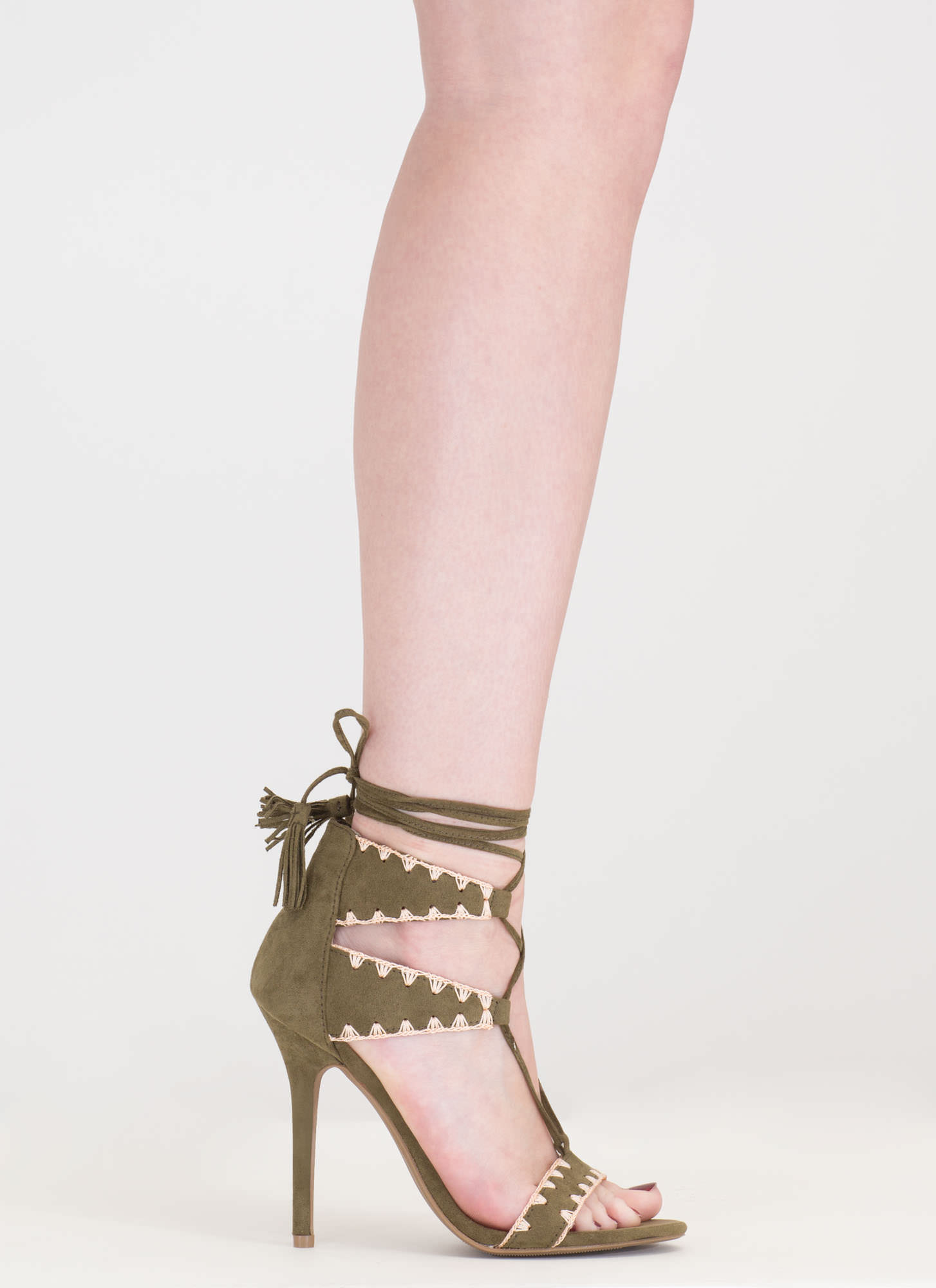 Embroider Away Tasseled Lace-Up Heels OLIVE