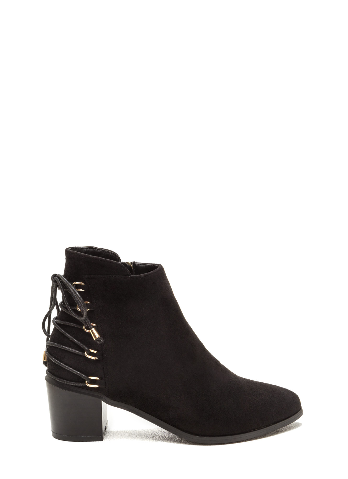 Ring Leader Lace-Up Chunky Booties BLACK