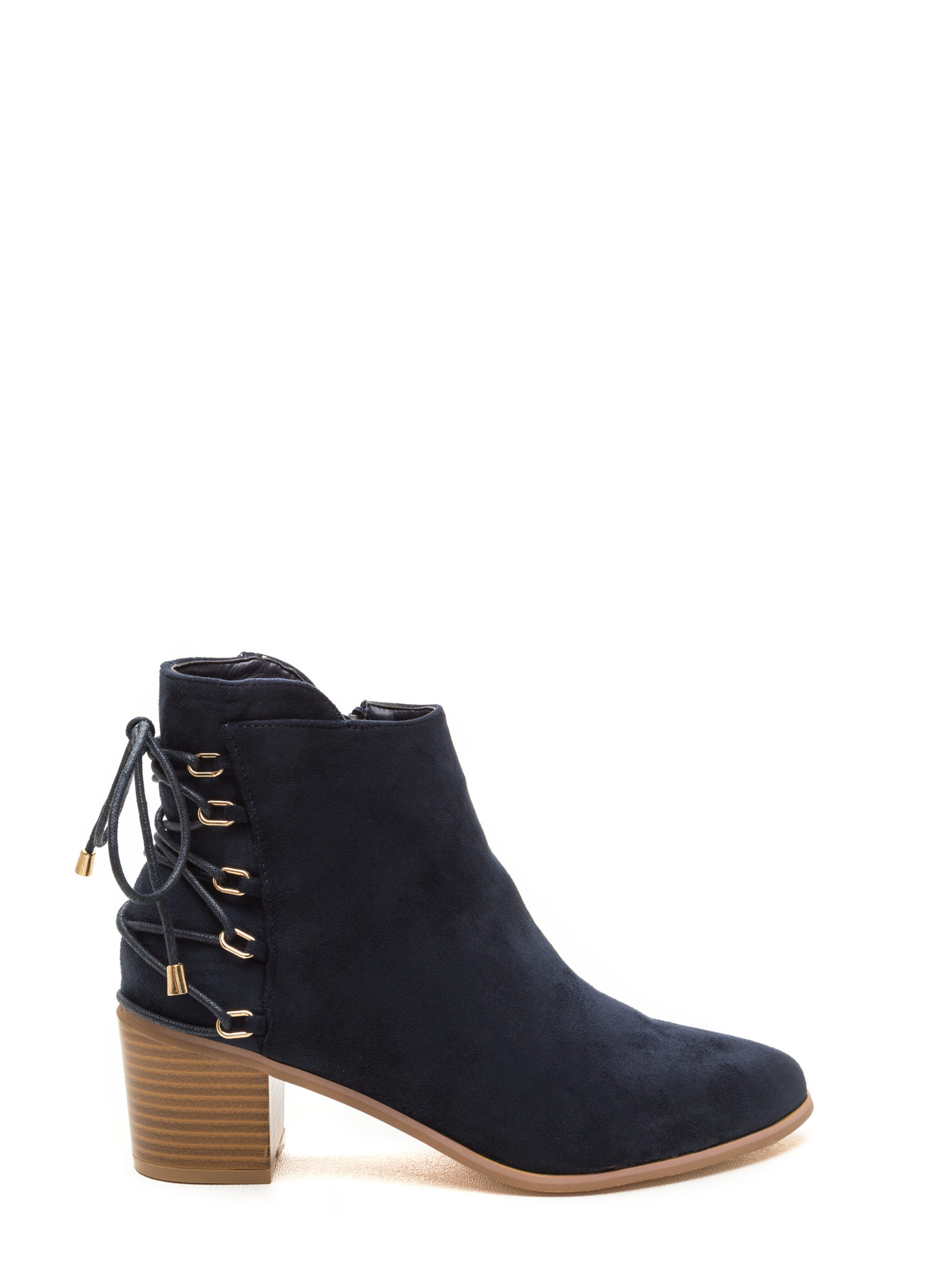 Ring Leader Lace-Up Chunky Booties NAVY