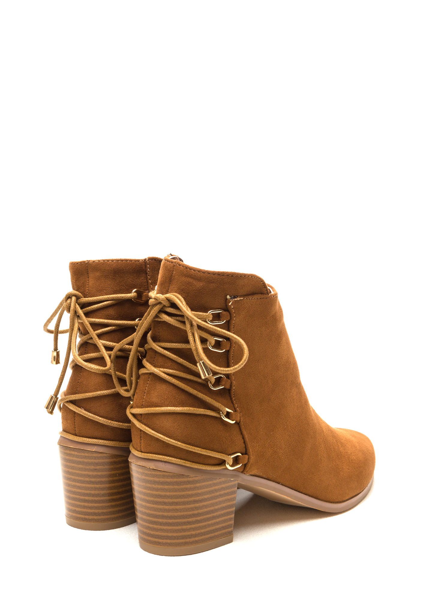 Ring Leader Lace-Up Chunky Booties TAN