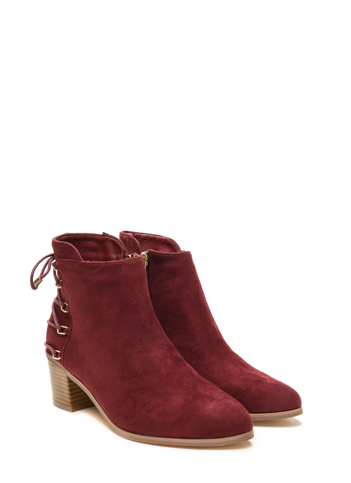 Ring Leader Lace-Up Chunky Booties WINE