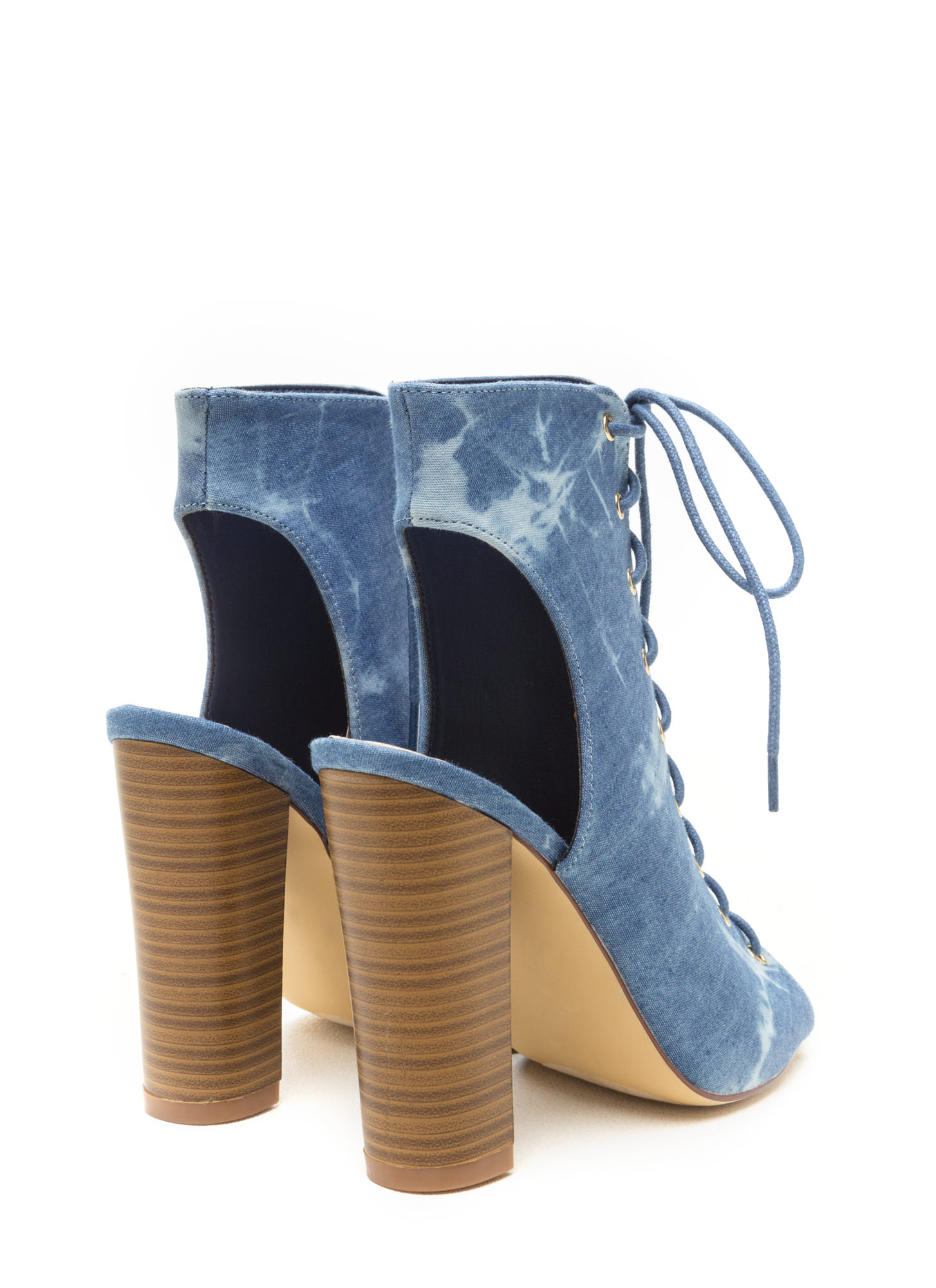 In The Wash Lace-Up Denim Heels DENIM