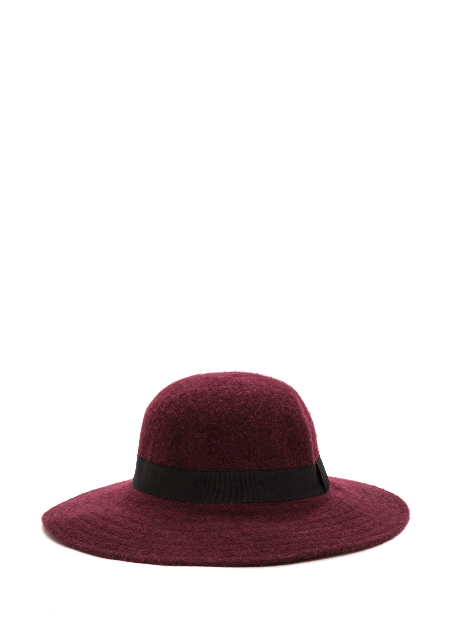 Park Slope Trip Wide Brim Wool Hat BURGUNDY