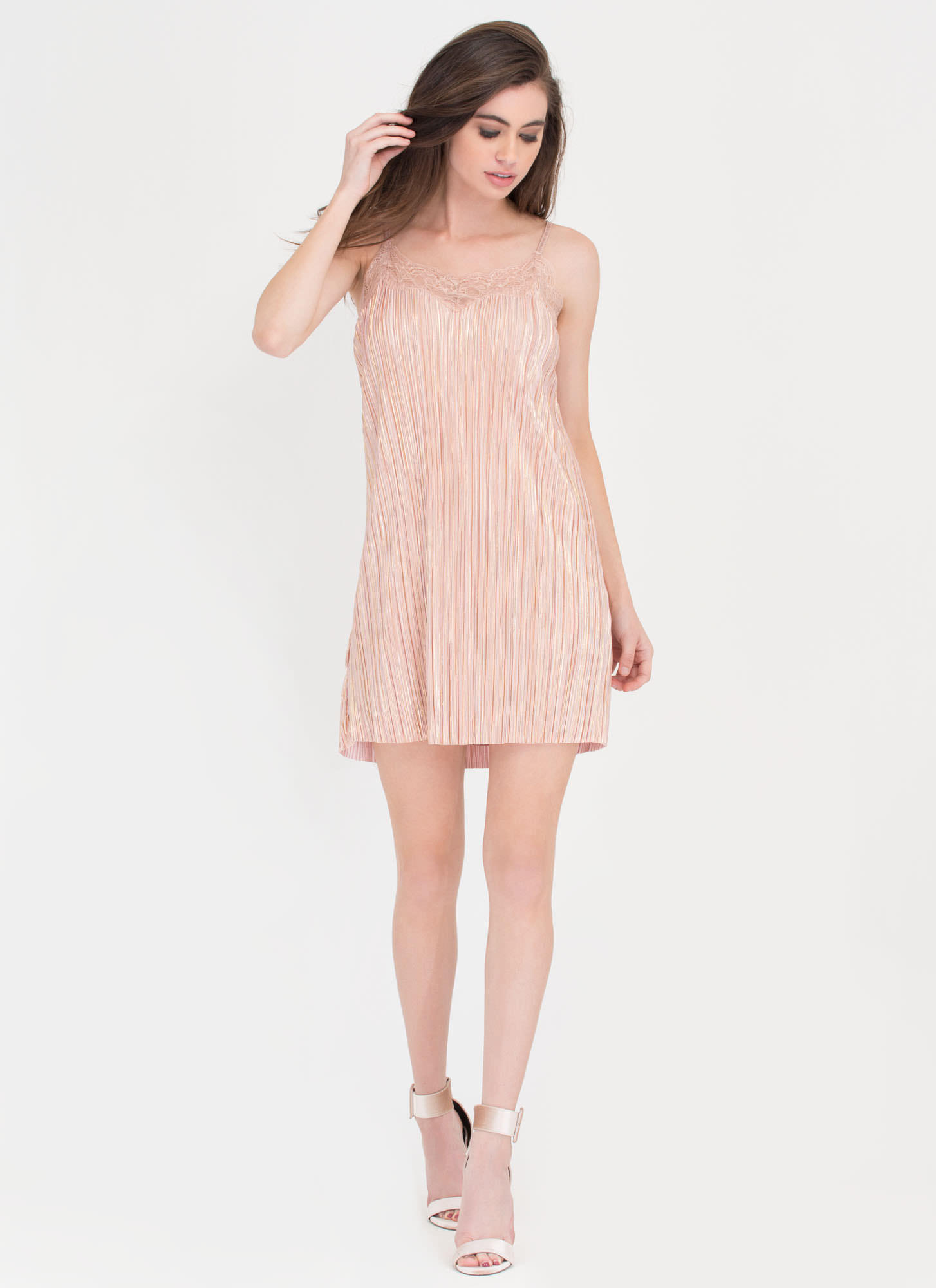 Evening Essential Metallic Slip Dress BLUSH