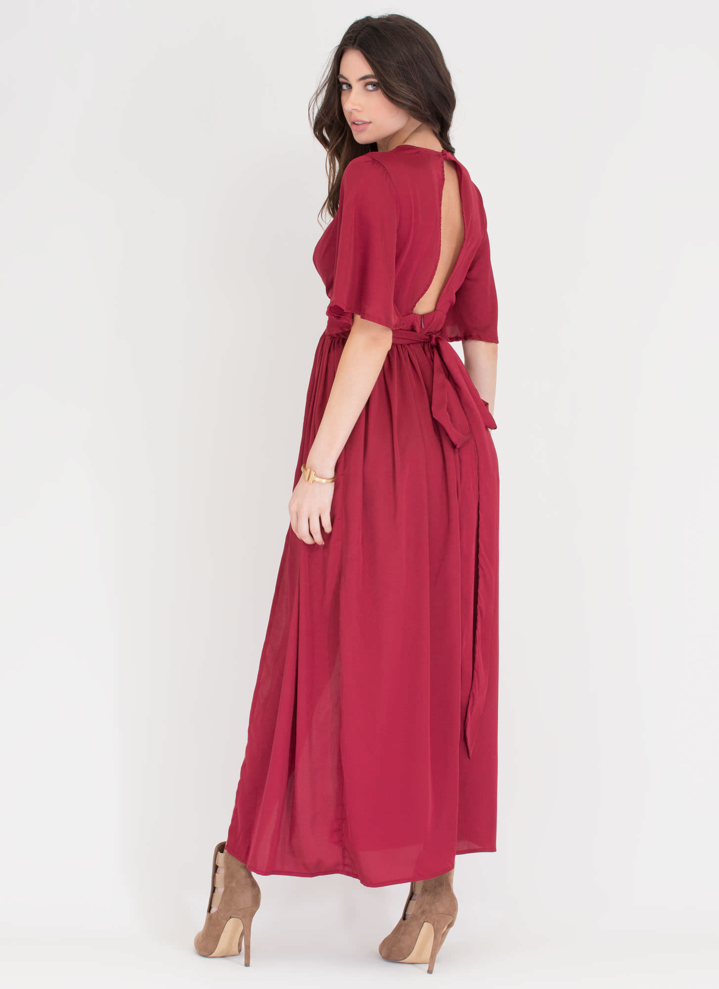 Luxe Life Plunging Satin Maxi BURGUNDY