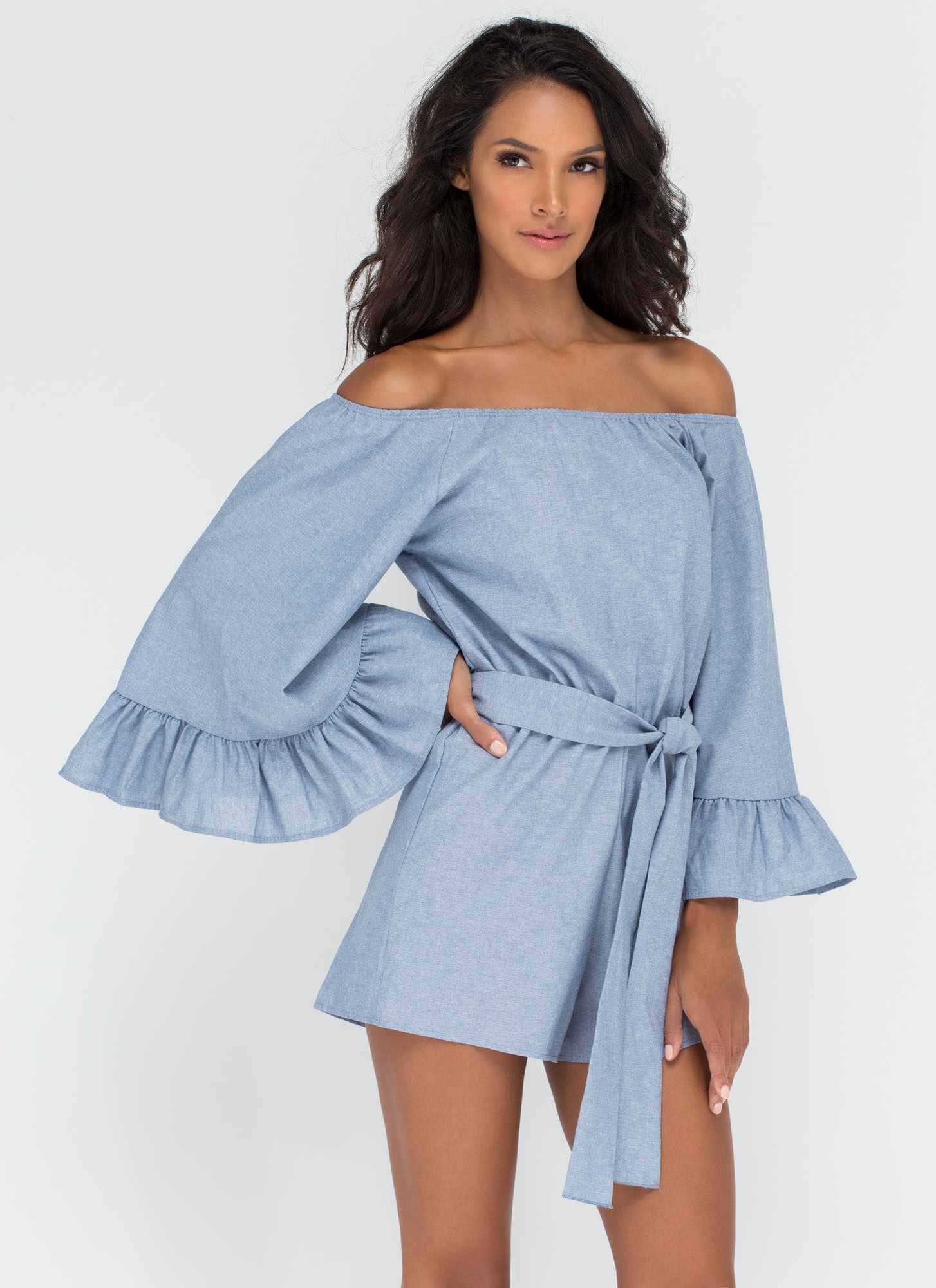 Day Date Ruffled Chambray Romper BLUE