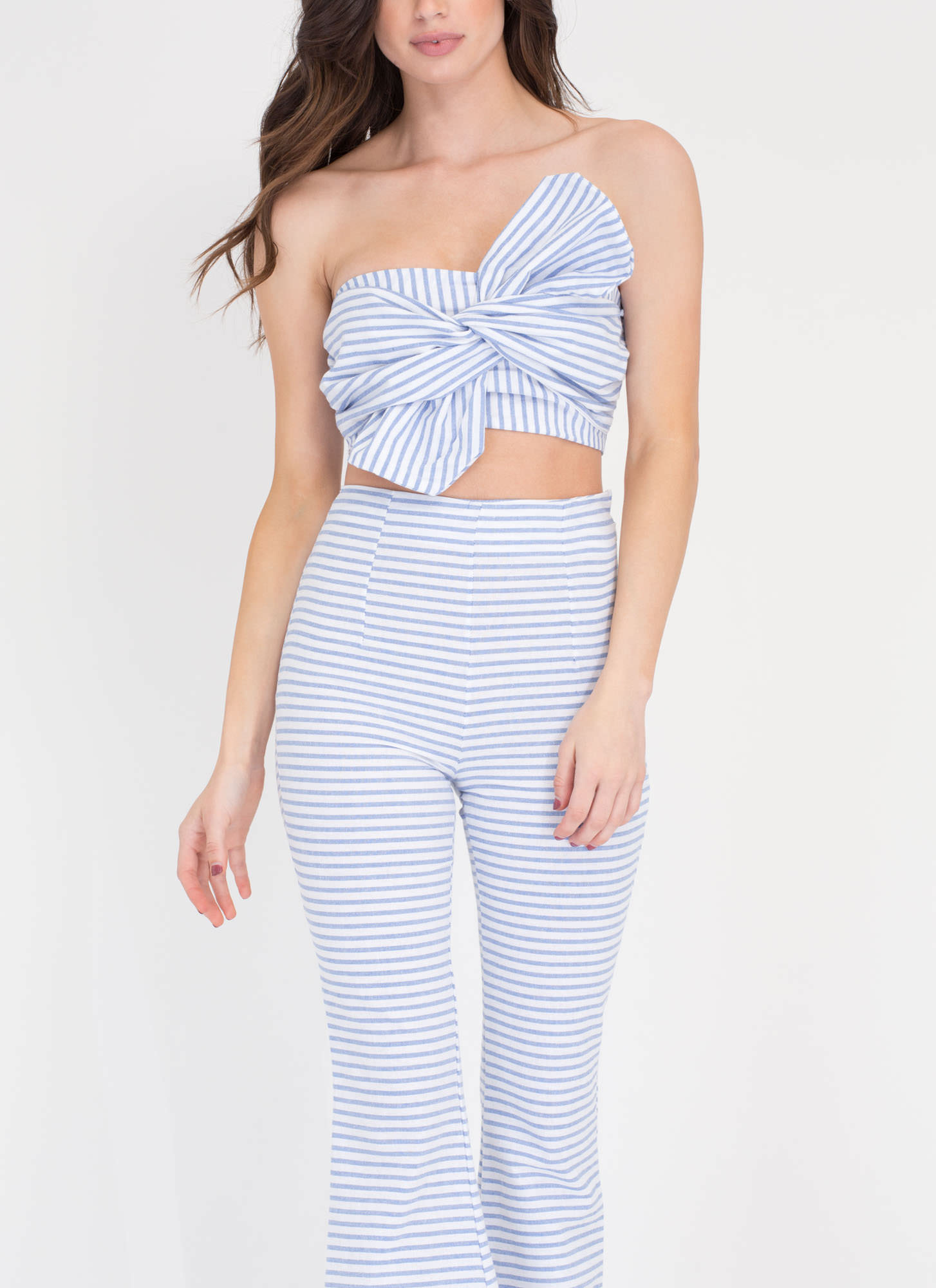 Boat Party Crop Top 'N Flared Pants Set BLUE