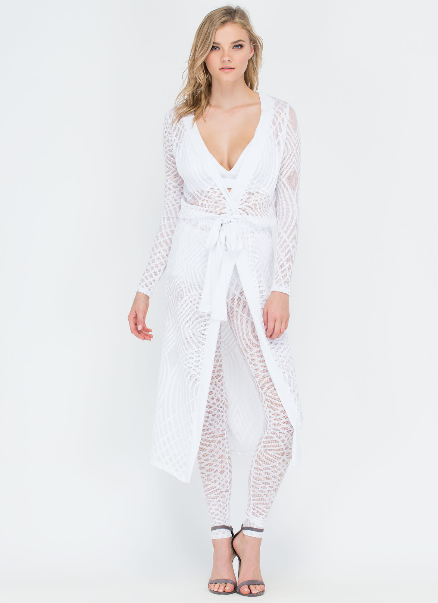 Defined Lines Mesh Net Maxi Duster WHITE