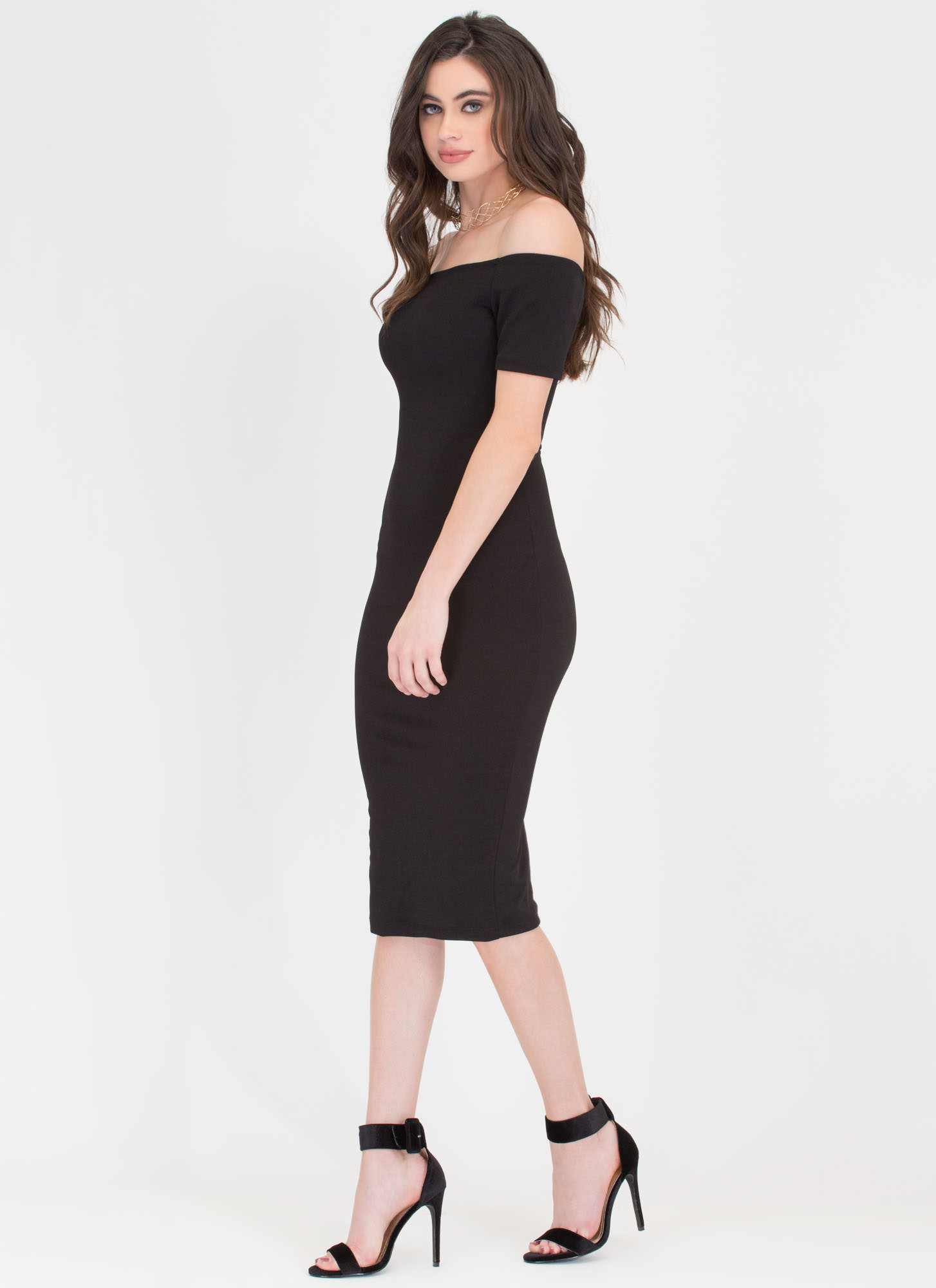 Bardot Babe Off-Shoulder Midi Dress BLACK