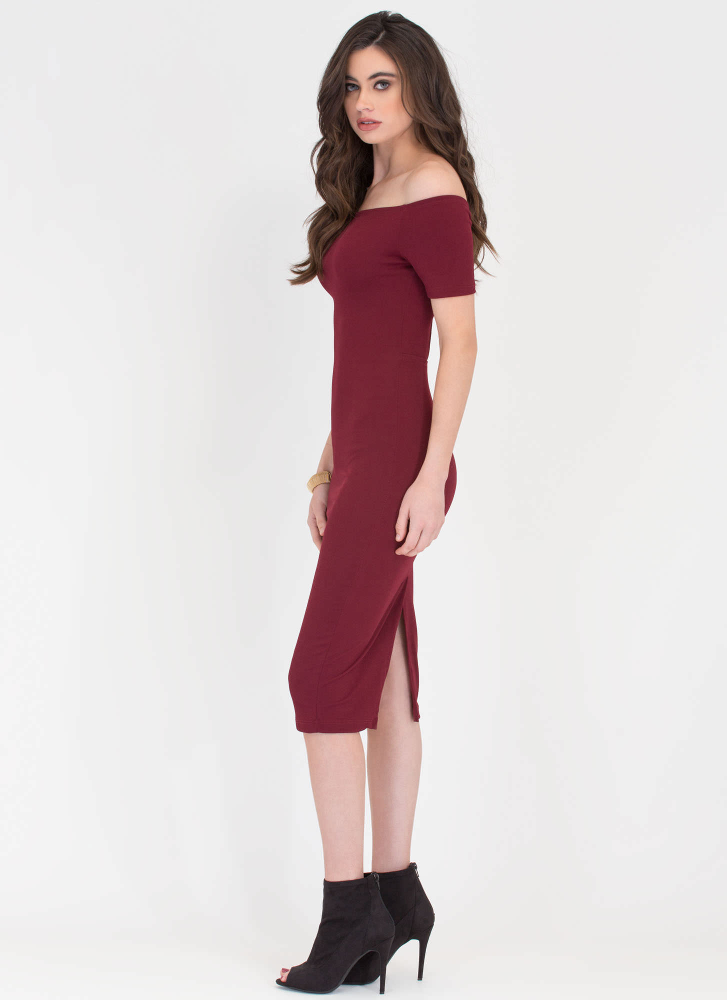 Bardot Babe Off-Shoulder Midi Dress WINE
