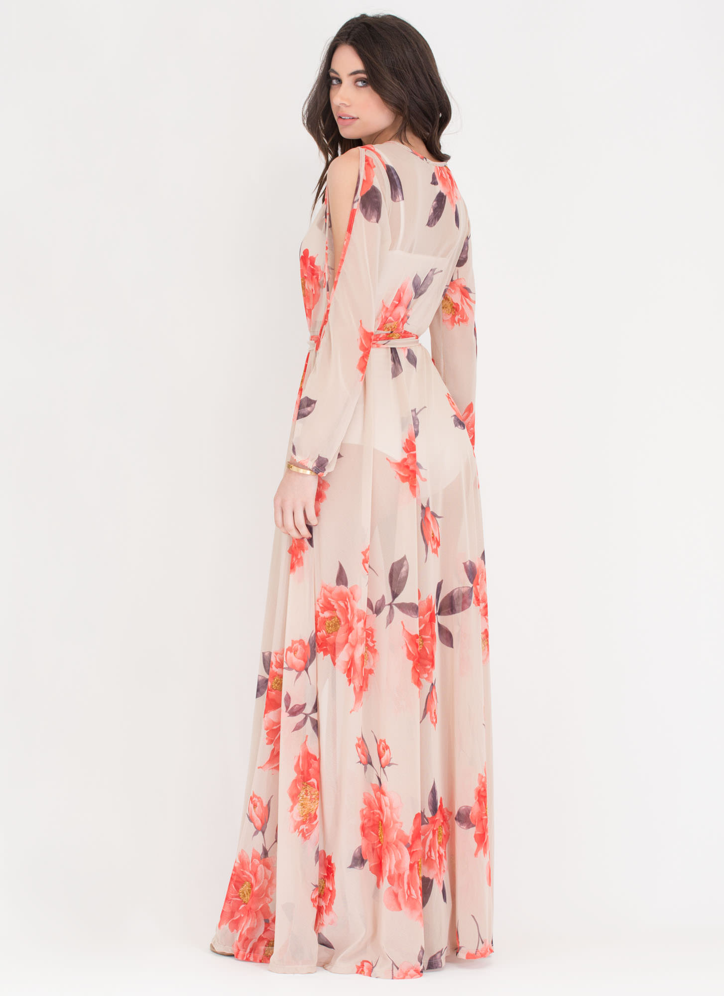 Bloom Service Sheer Wrap Maxi Dress NUDE