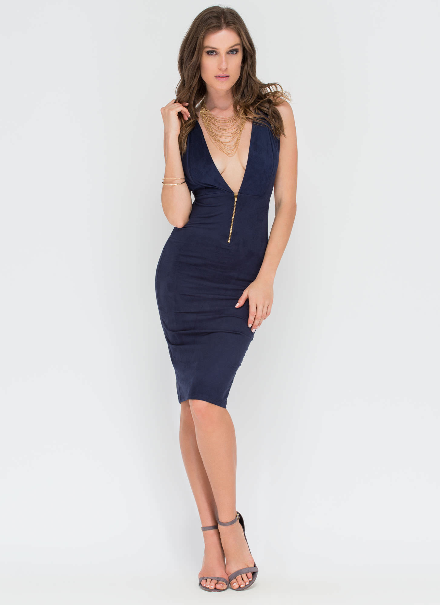 Take Notice Plunging Faux Suede Dress NAVY