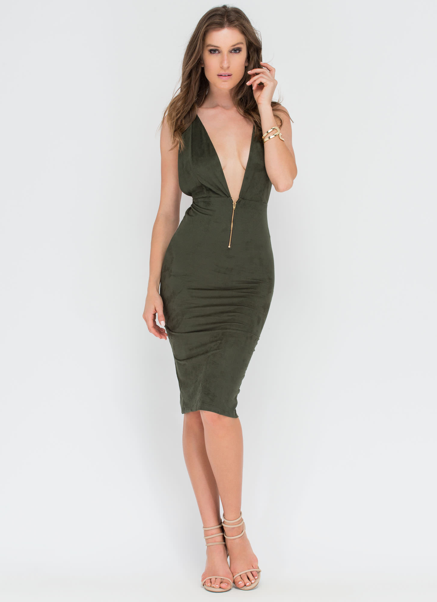 Take Notice Plunging Faux Suede Dress OLIVE
