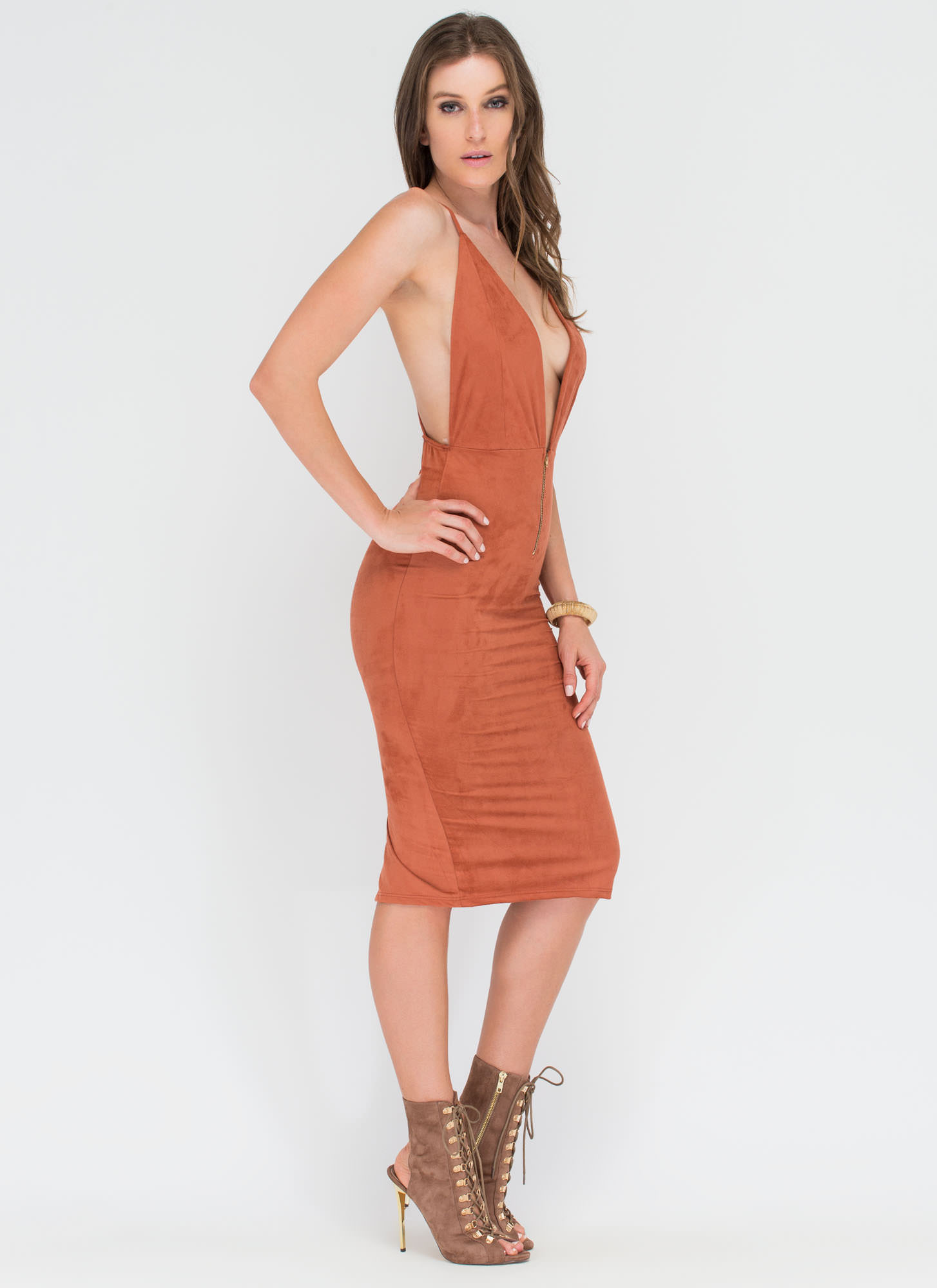 Take Notice Plunging Faux Suede Dress RUST