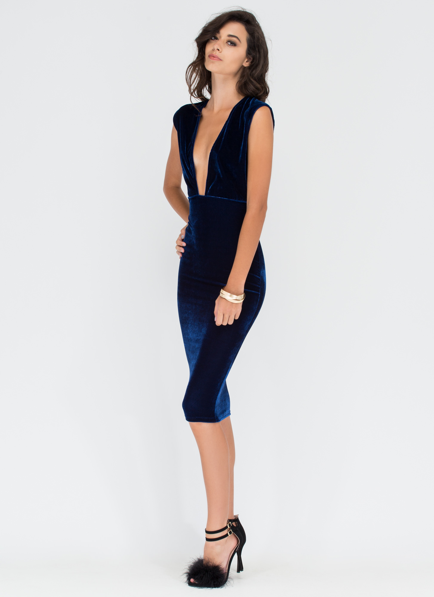 After Party Deep Cut-Out Velvet Dress NAVY