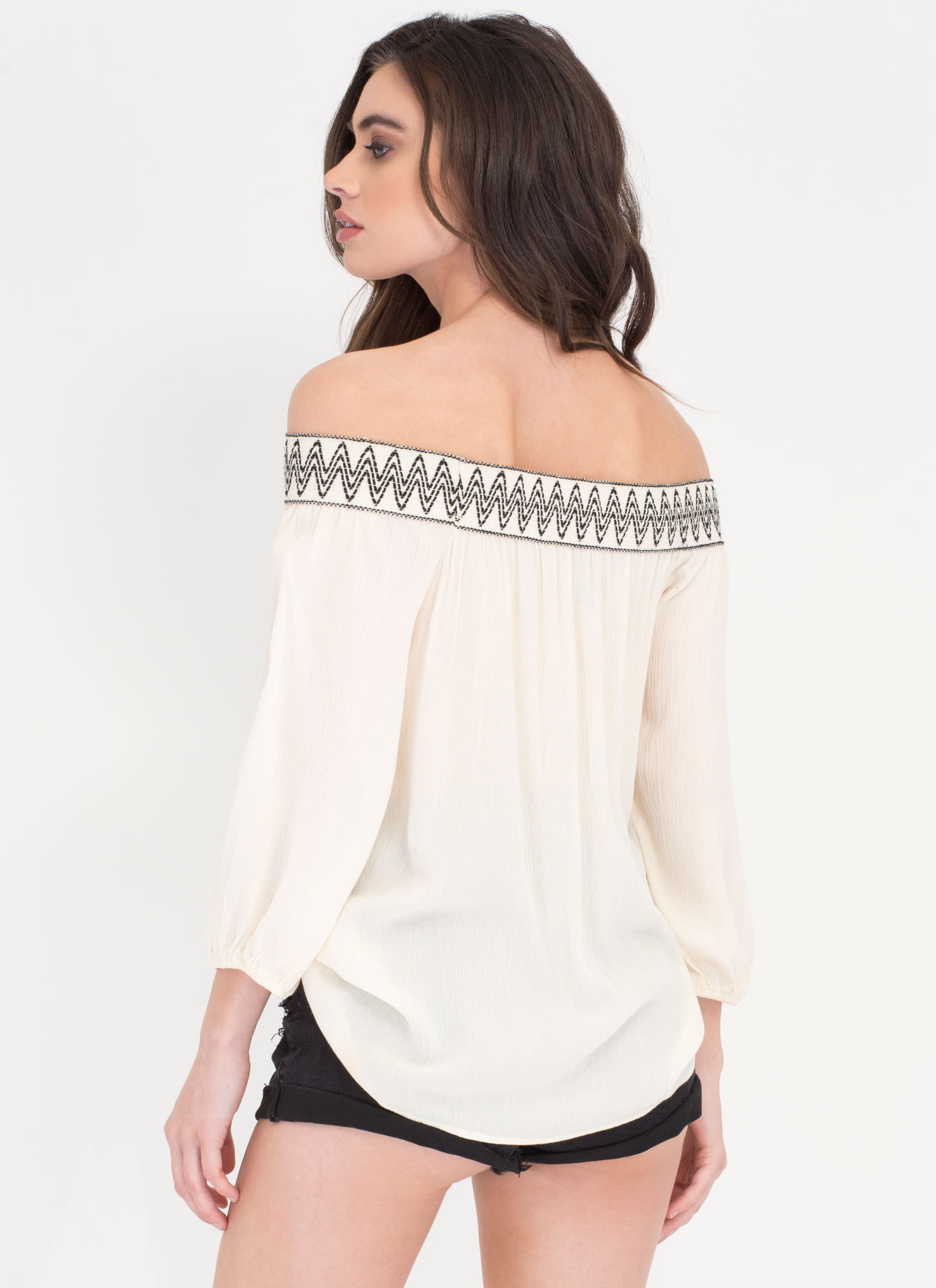 Indie Girl Off-Shoulder Embroidered Top CREAM