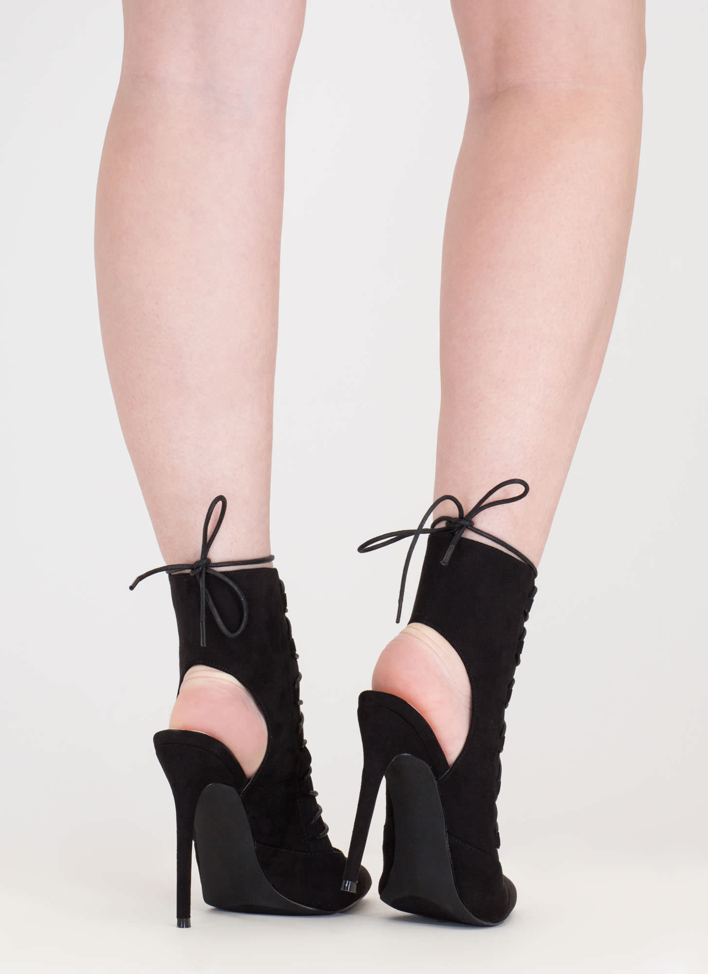 Point Out Lace-Up Faux Suede Heels BLACK