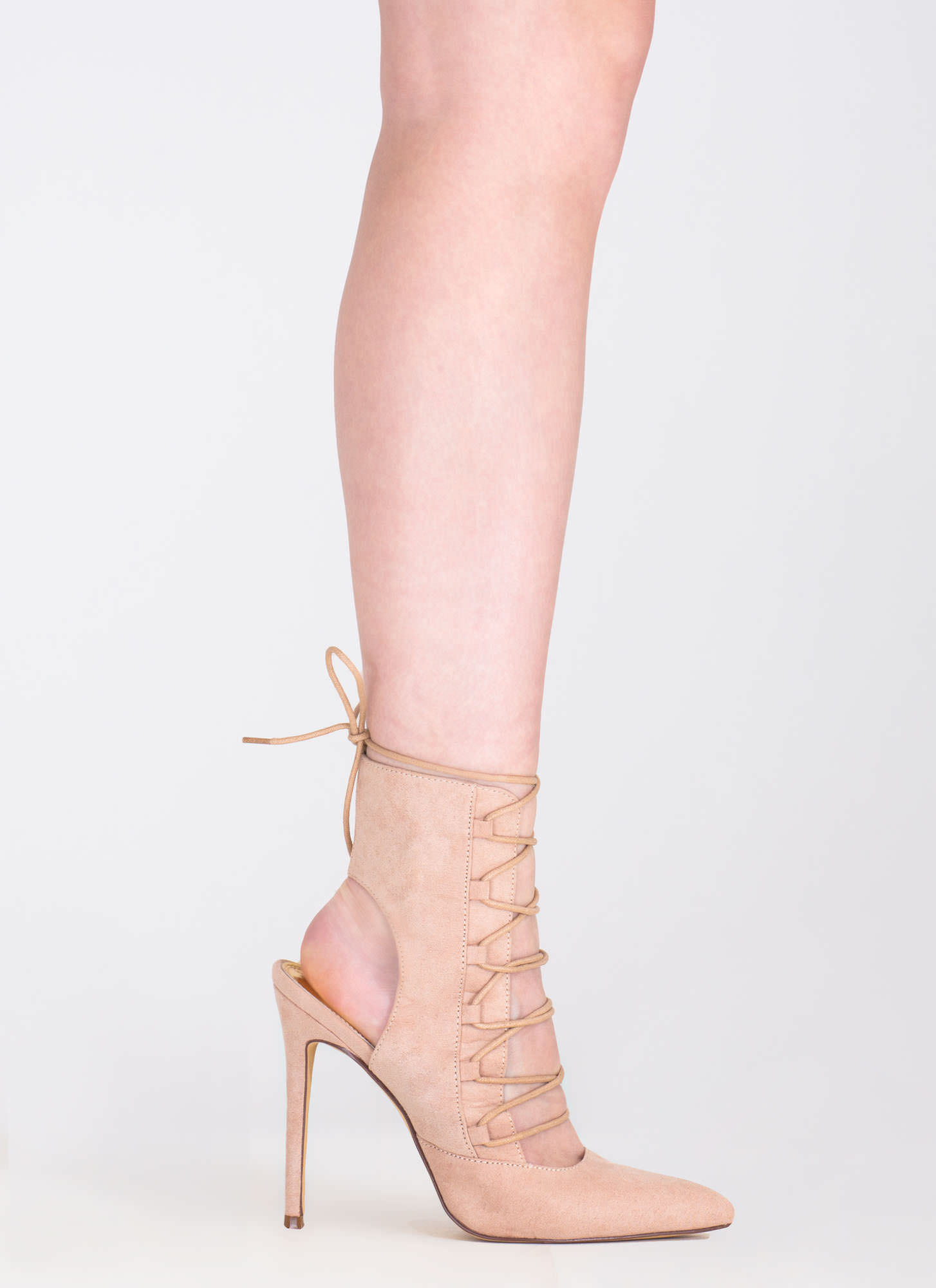 Point Out Lace-Up Faux Suede Heels NUDE