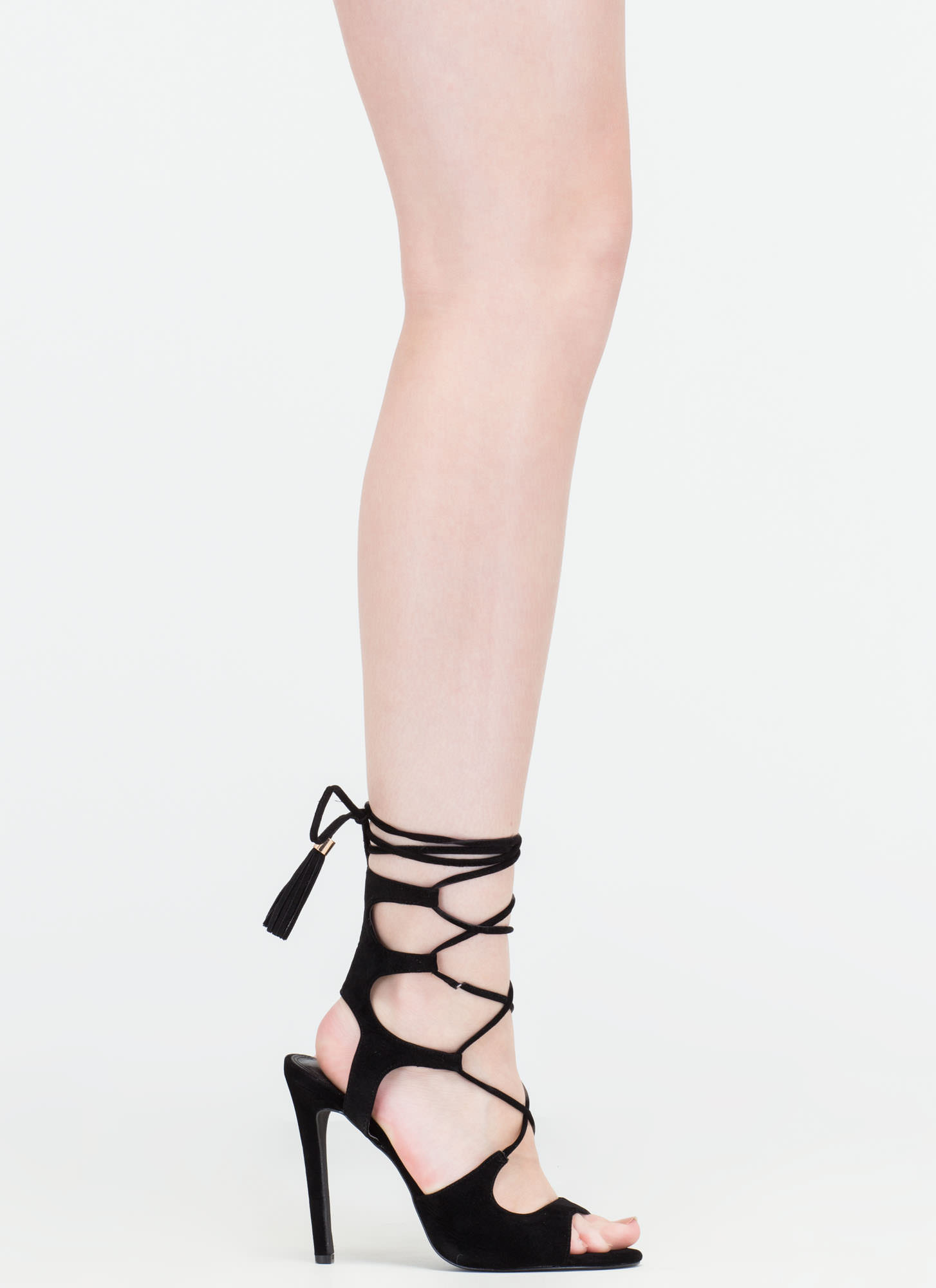 Boho Cues Caged Lace-Up Heels BLACK