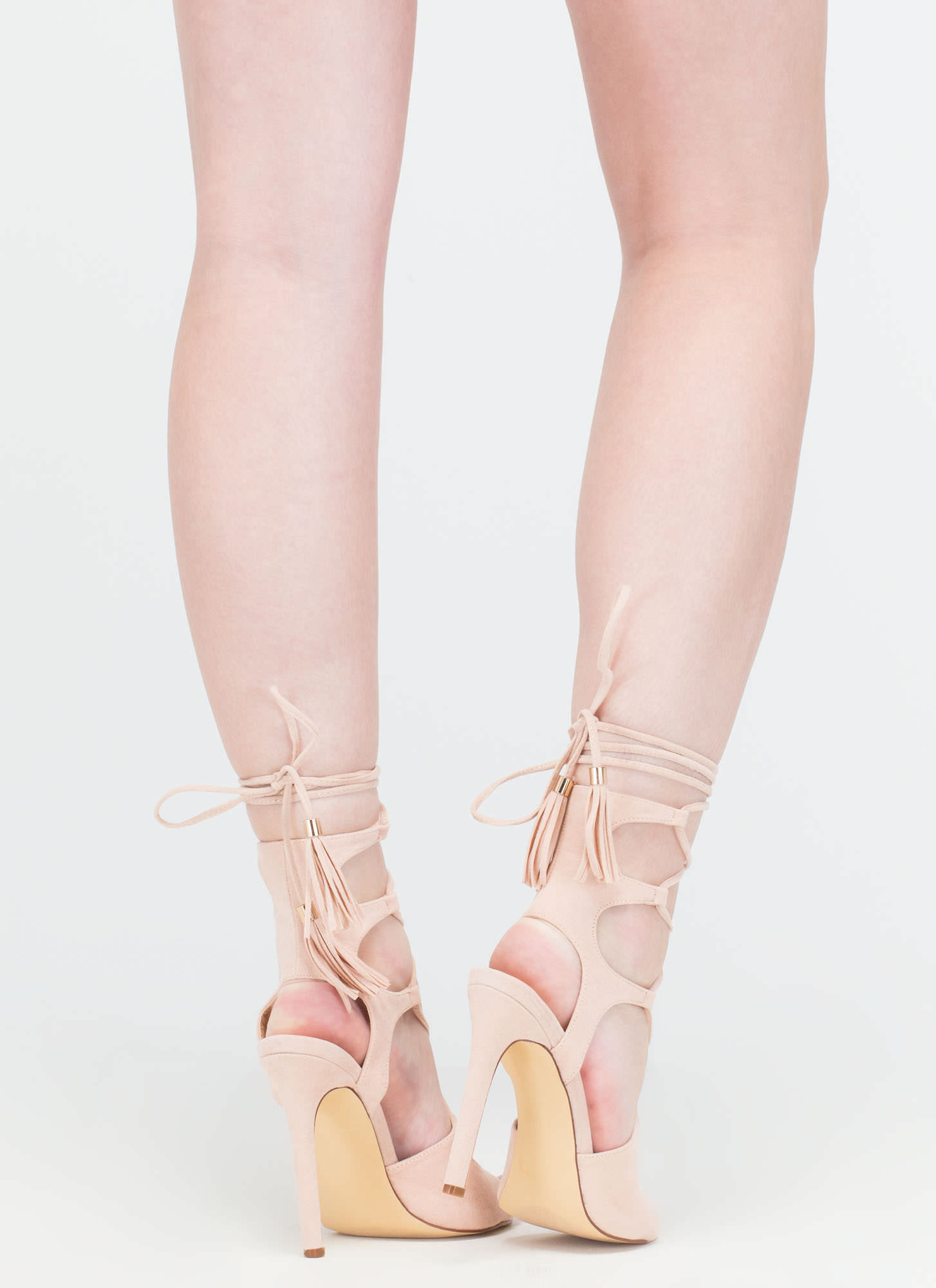 Boho Cues Caged Lace-Up Heels NUDE