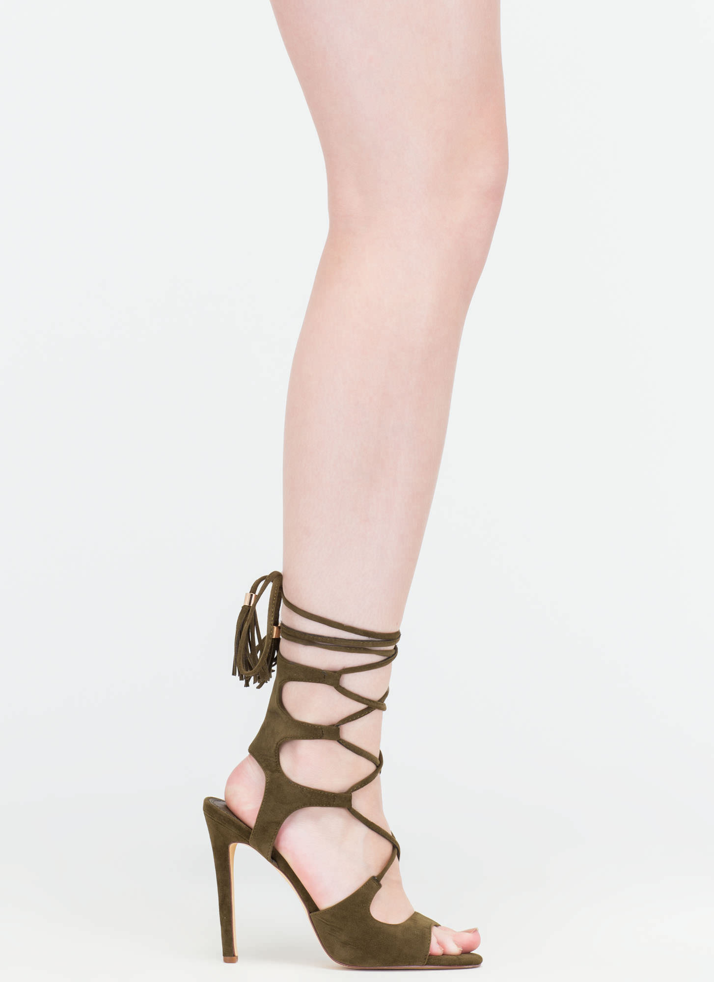 Boho Cues Caged Lace-Up Heels OLIVE